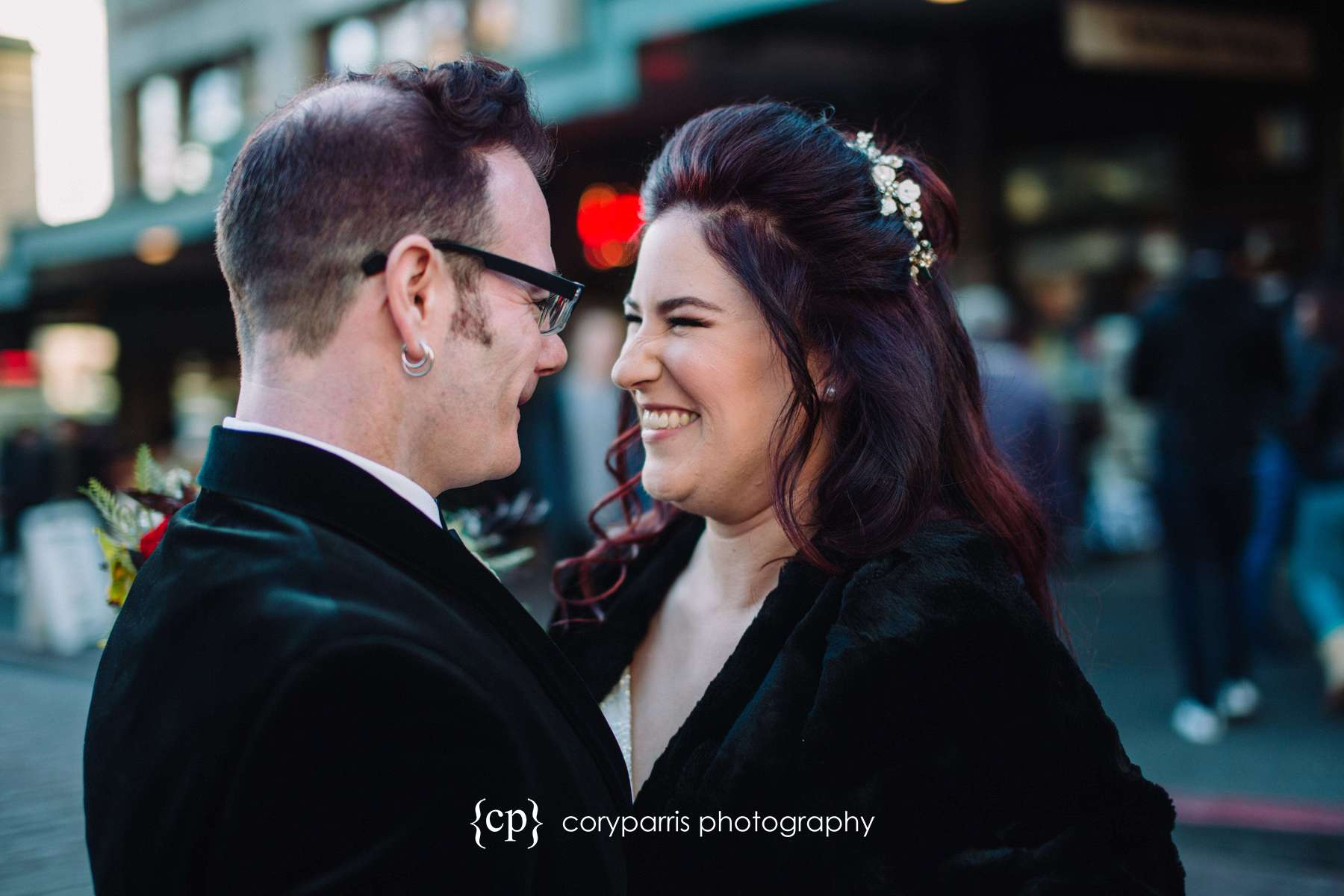 Great expression on the bride before Seattle wedding