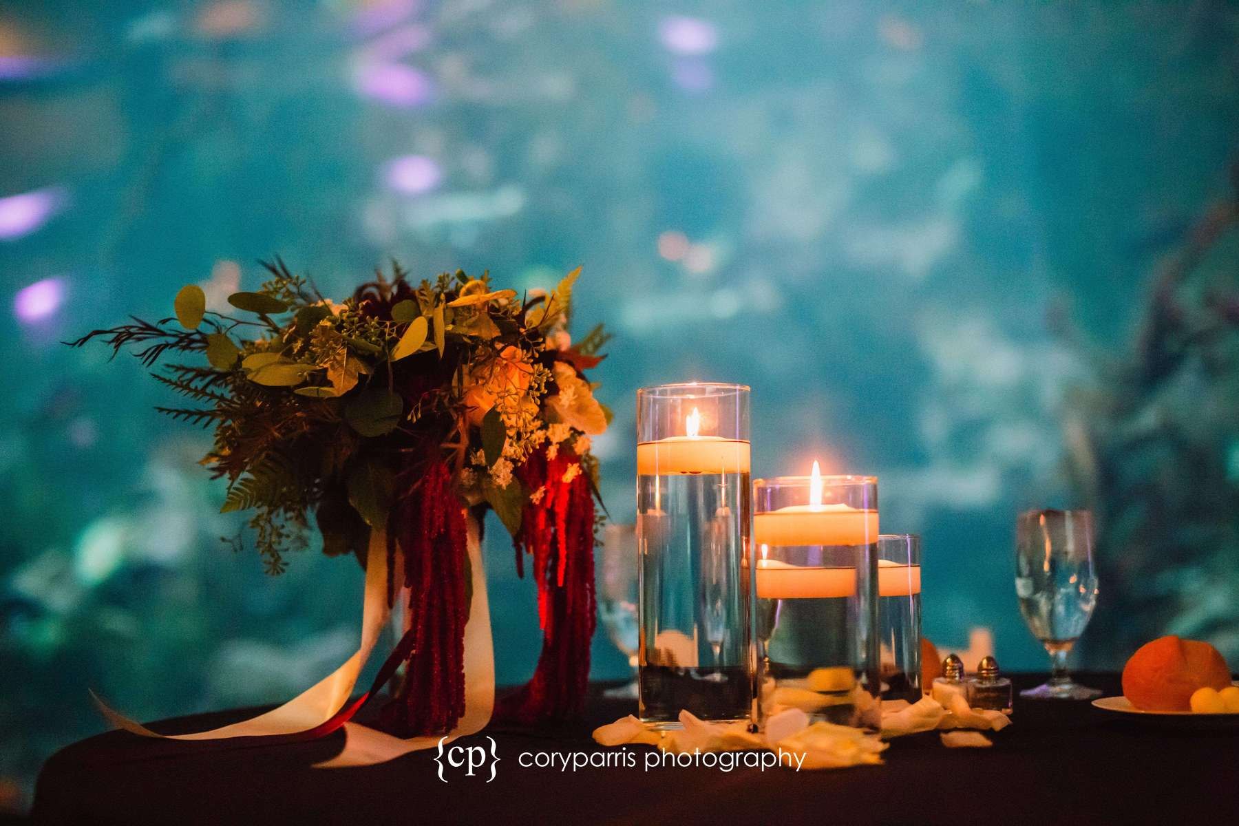 Wedding table detail at the Seattle Aquarium