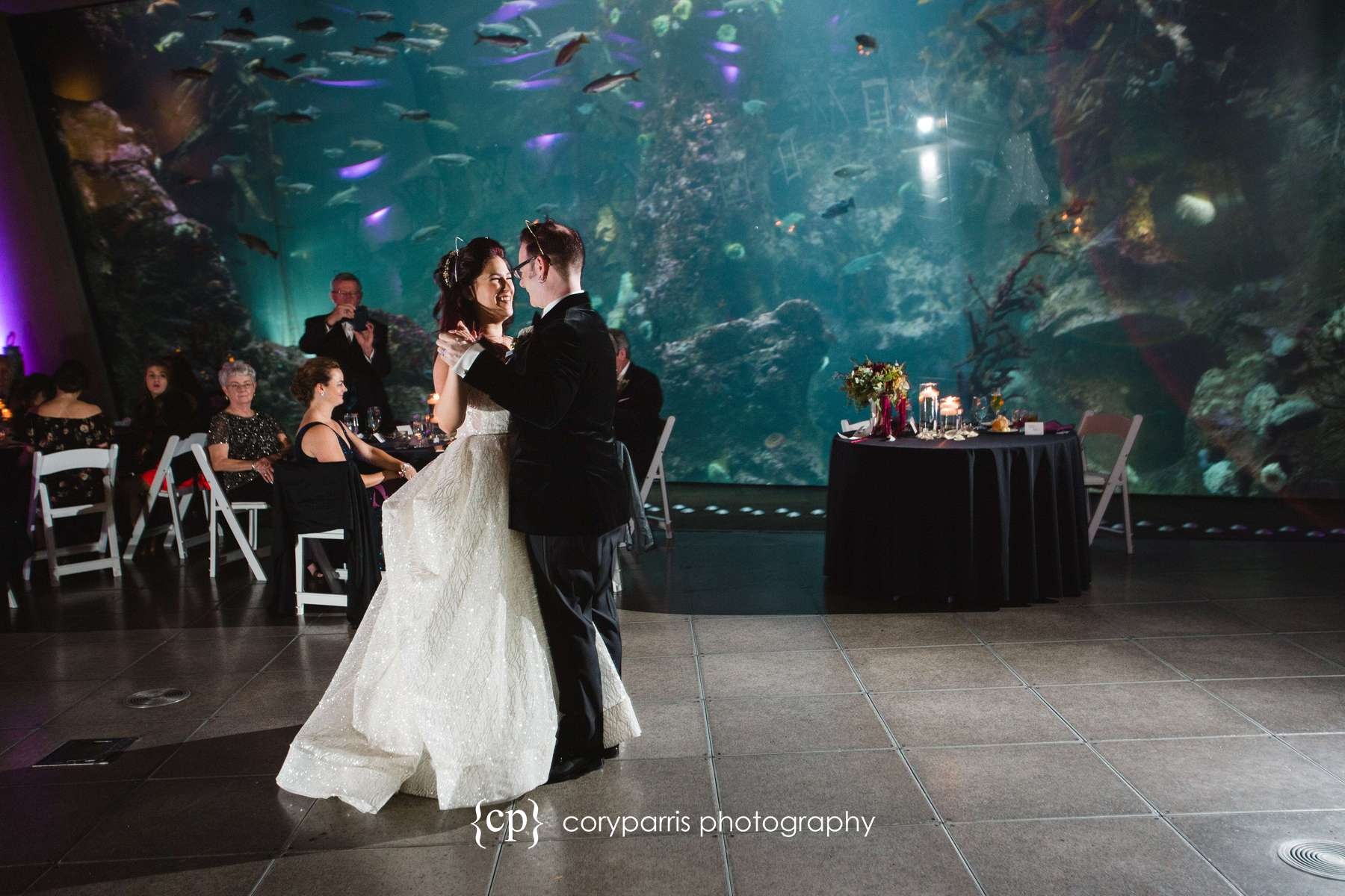 First dance with the big tank at the Seattle Aquarium in the background.