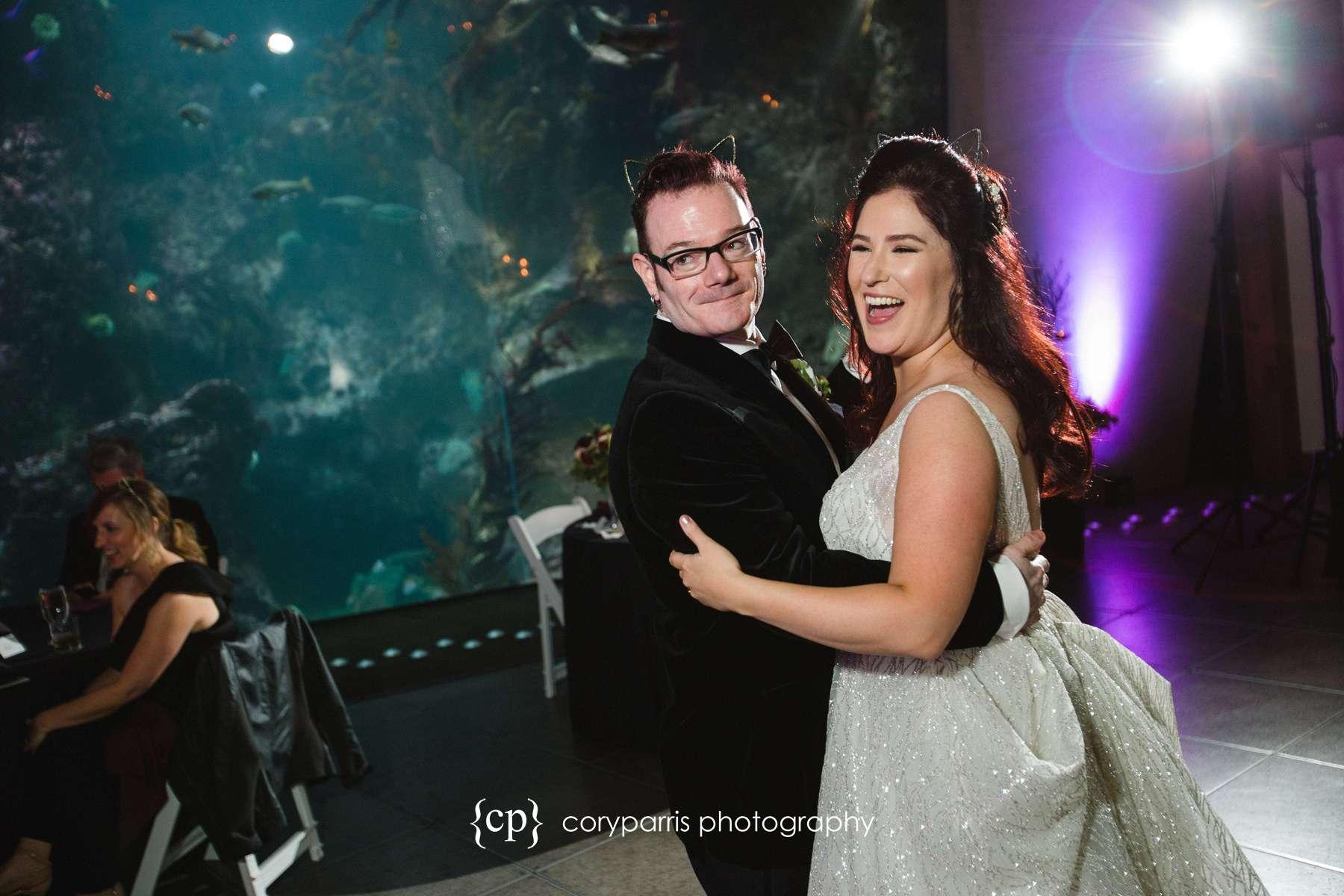 Dancing at Seattle Aquarium wedding reception