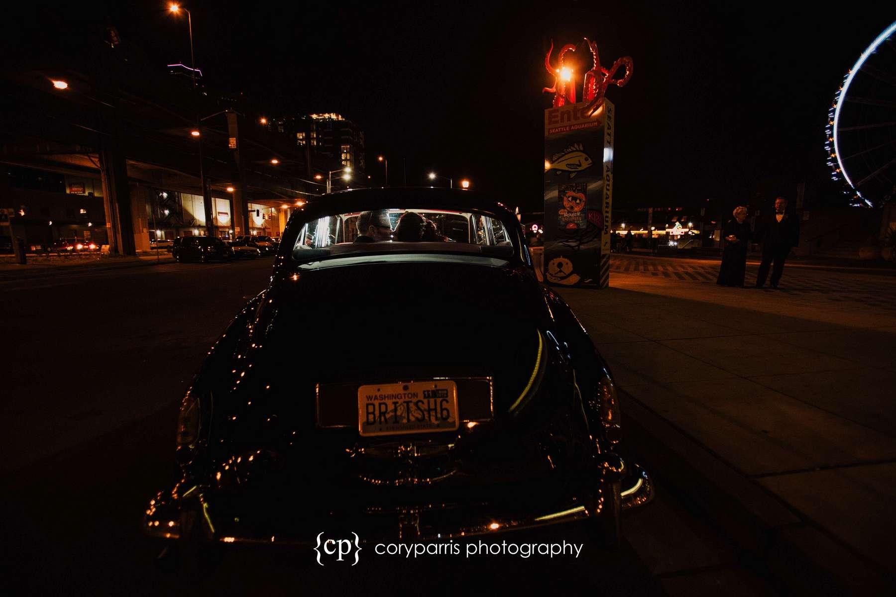 Getaway in a Rolls Royce after wedding at the Seattle Aquarium