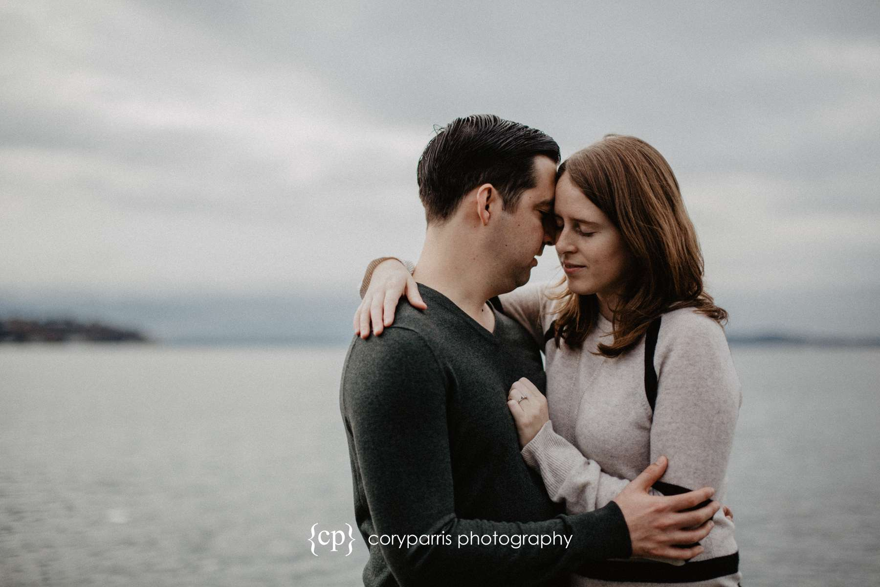 Jake and Lindsay's engagement portraits at Myrtle Edwards Park in Seattle