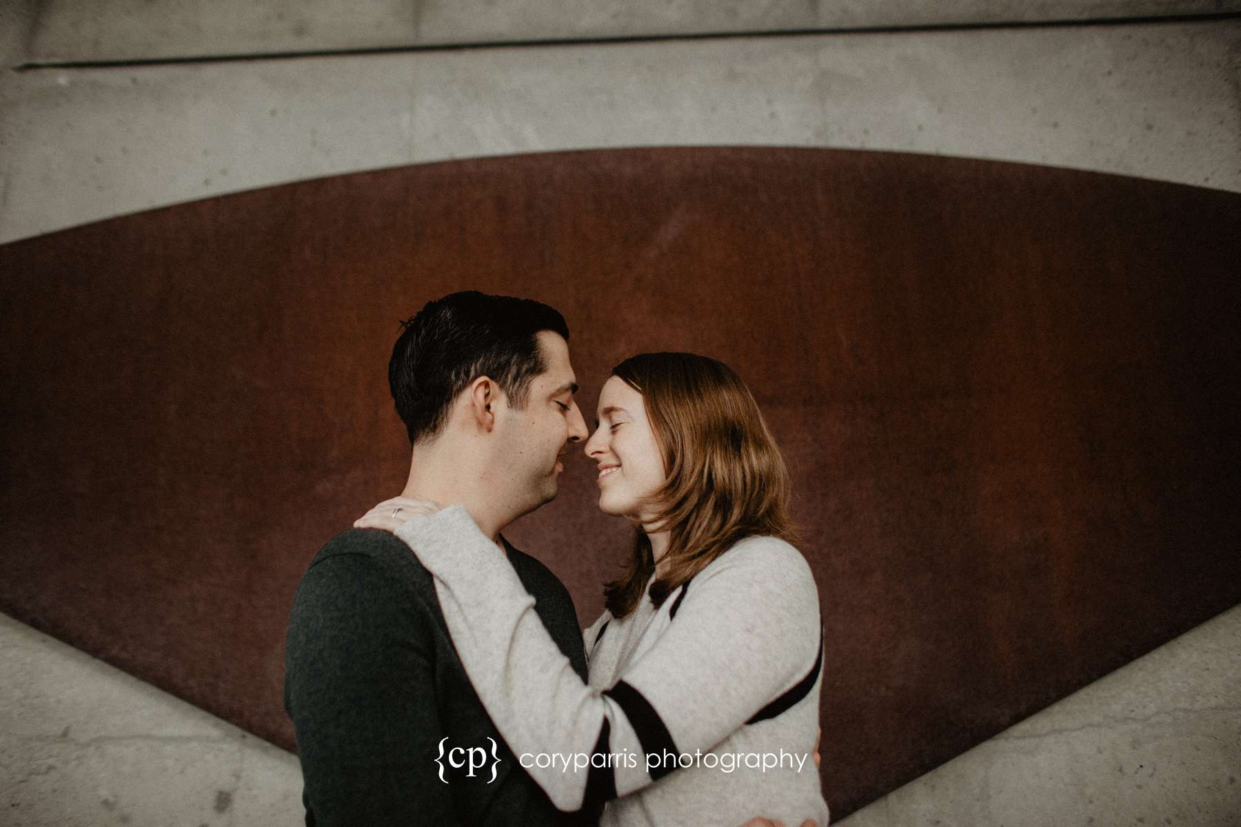 Engagement portrait at the Olympic Sculpture Park in Seattle