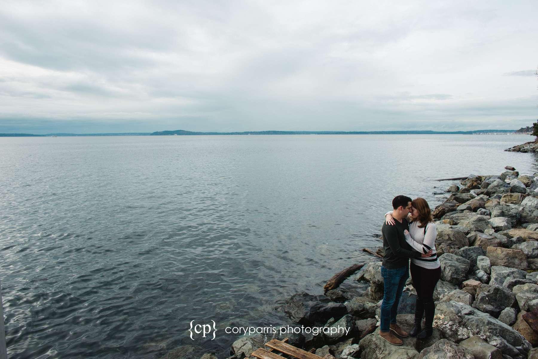Myrtle Edwards Park engagement portrait