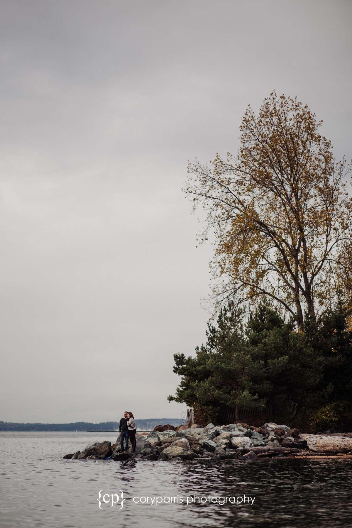 Seattle waterfront engagement portrait