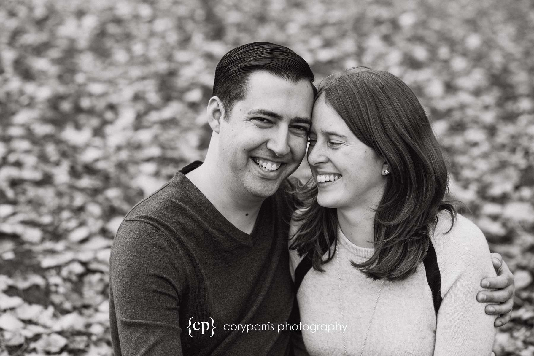 couple laughing during their engagement portraits