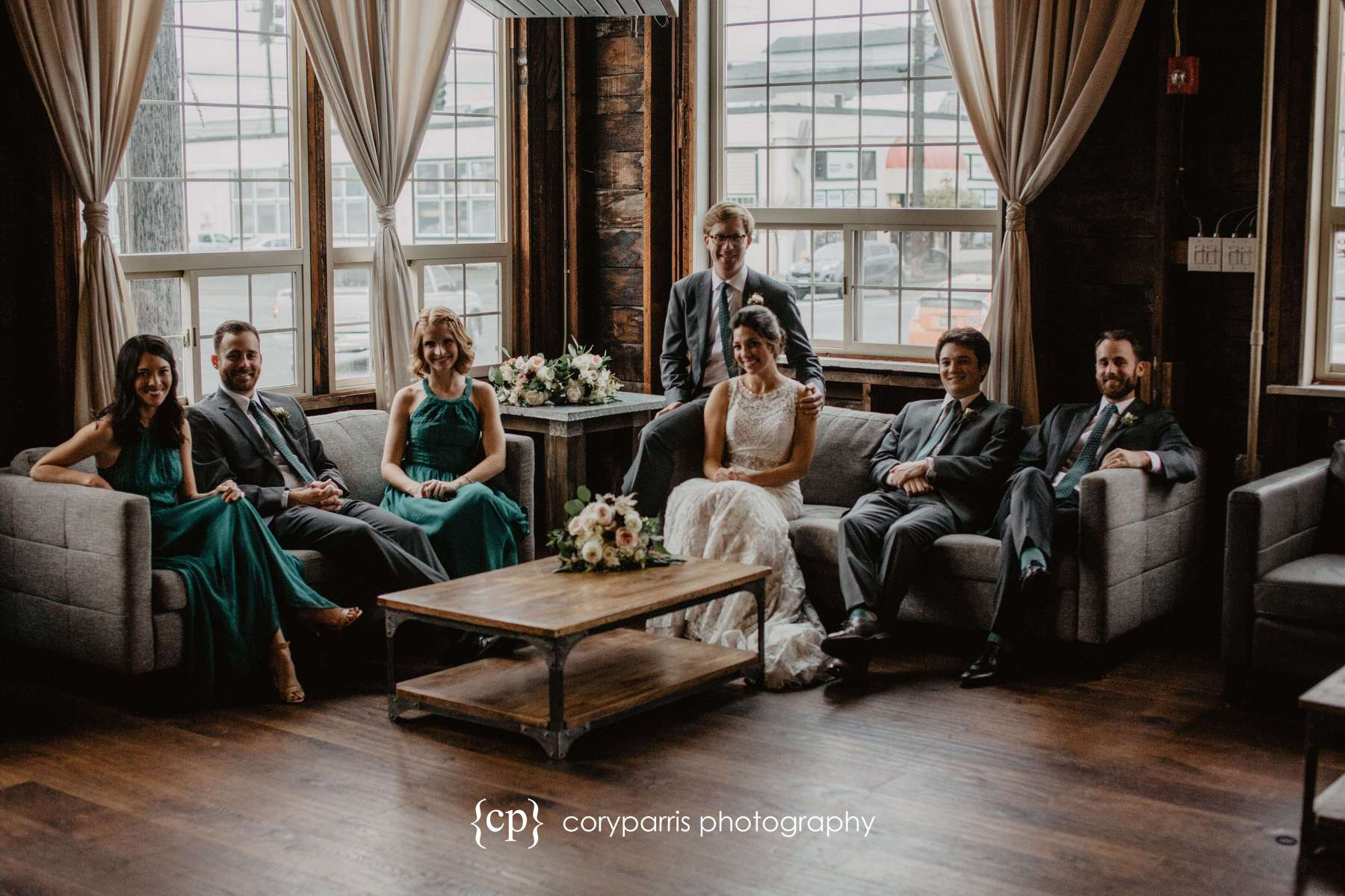 Wedding party on the couches at SODO Park