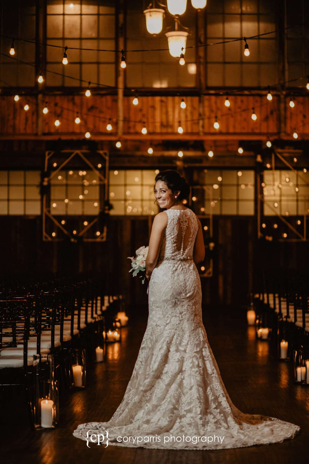Bride showing off her dress at SODO Park