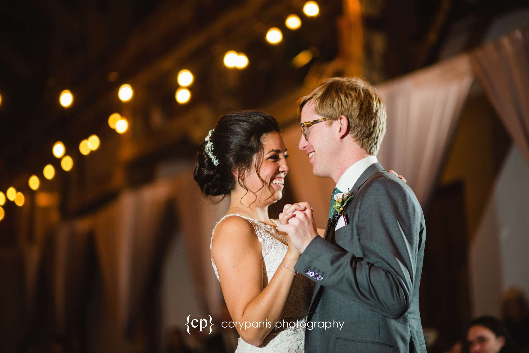 Amy & Kevin laughing during the first dance