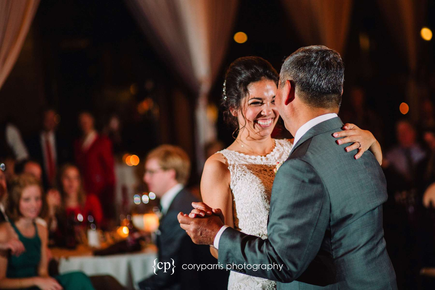 Bride and father dancing at SODO Park