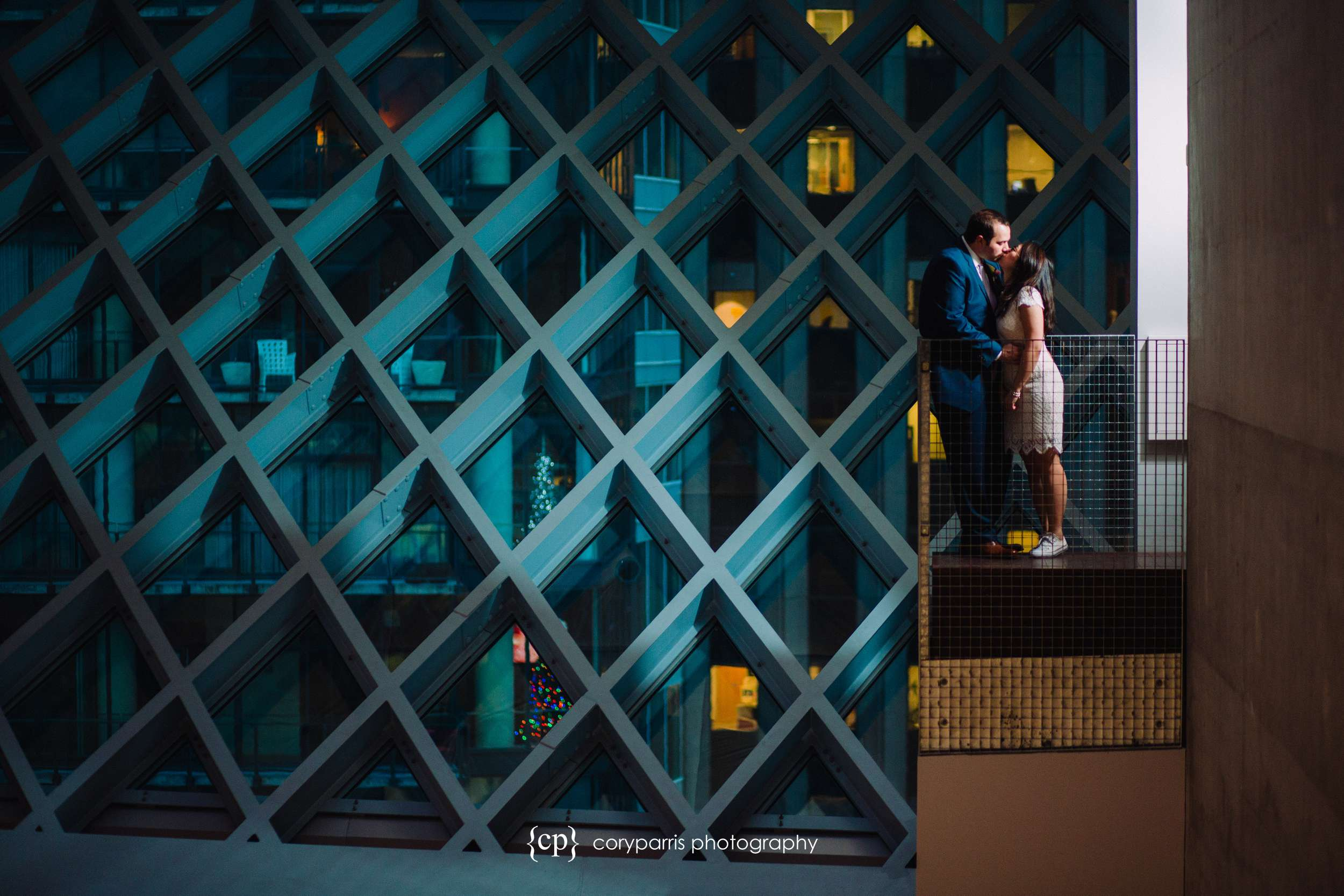 Wendy and Chris at the Seattle Public Library for portraits before their elopement at the Seattle Municipal Courthouse.