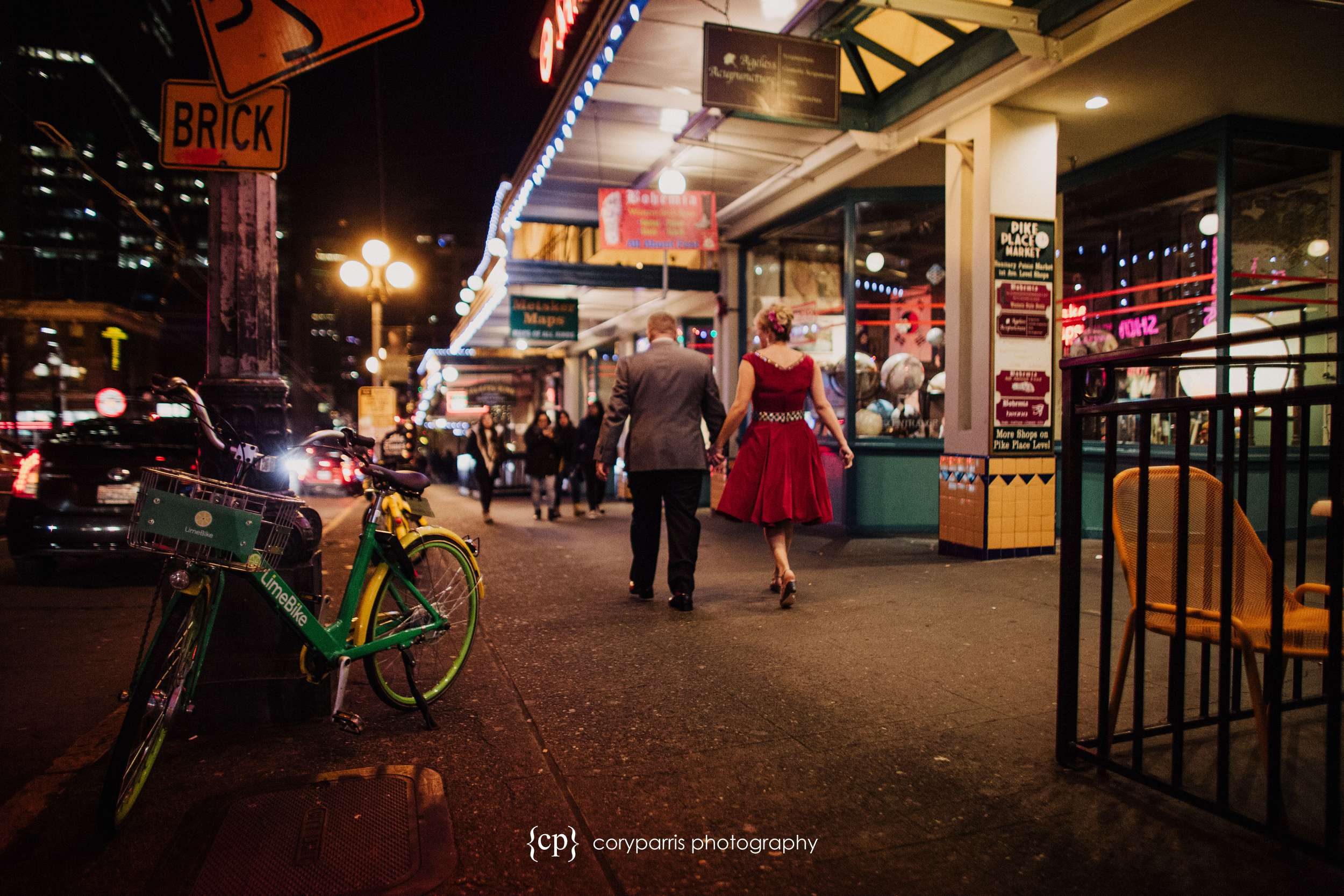 I really like this image of Jeff and Tanea walking down first avenue in Seattle.
