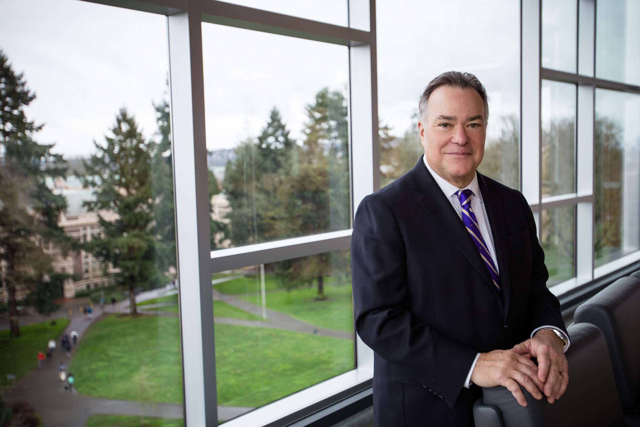 environmental portrait of the president of UW Foster School of Business