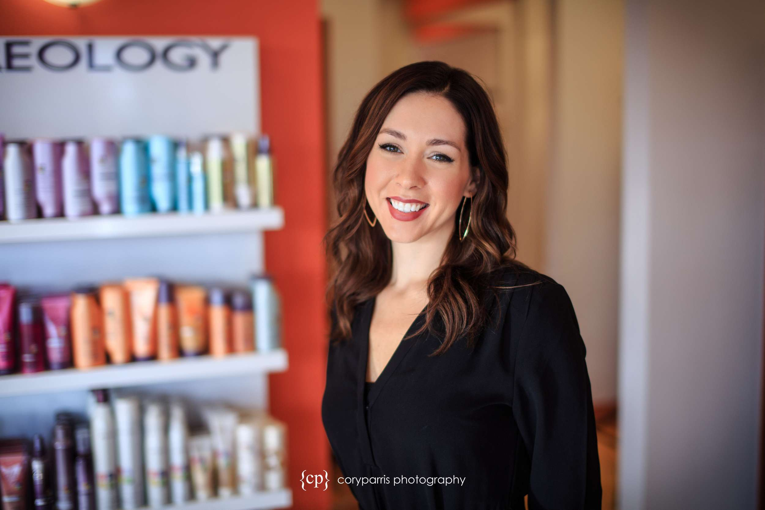 Lindsay, the owner of Salon Zuberenz. This business portrait was taken in her Salon.