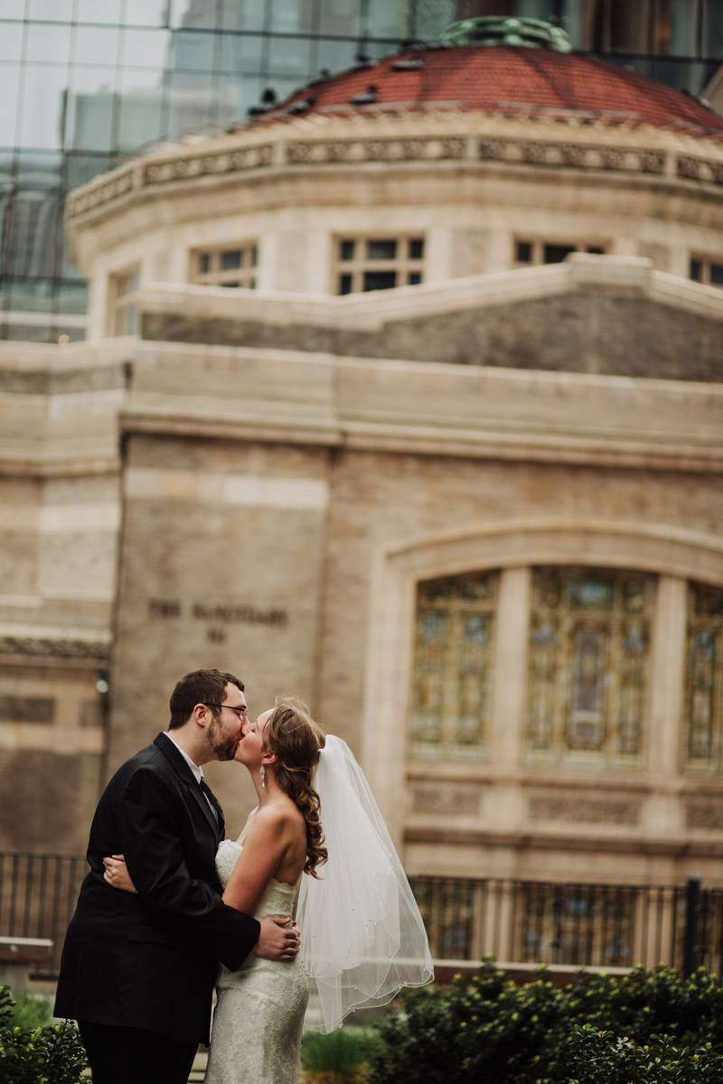 Emily and David before their Seattle Courthouse wedding.