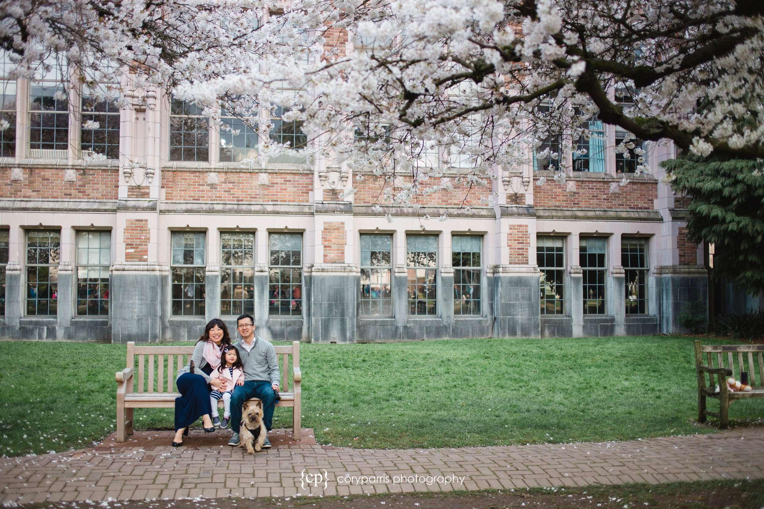 Family portrait on the Quad at UW