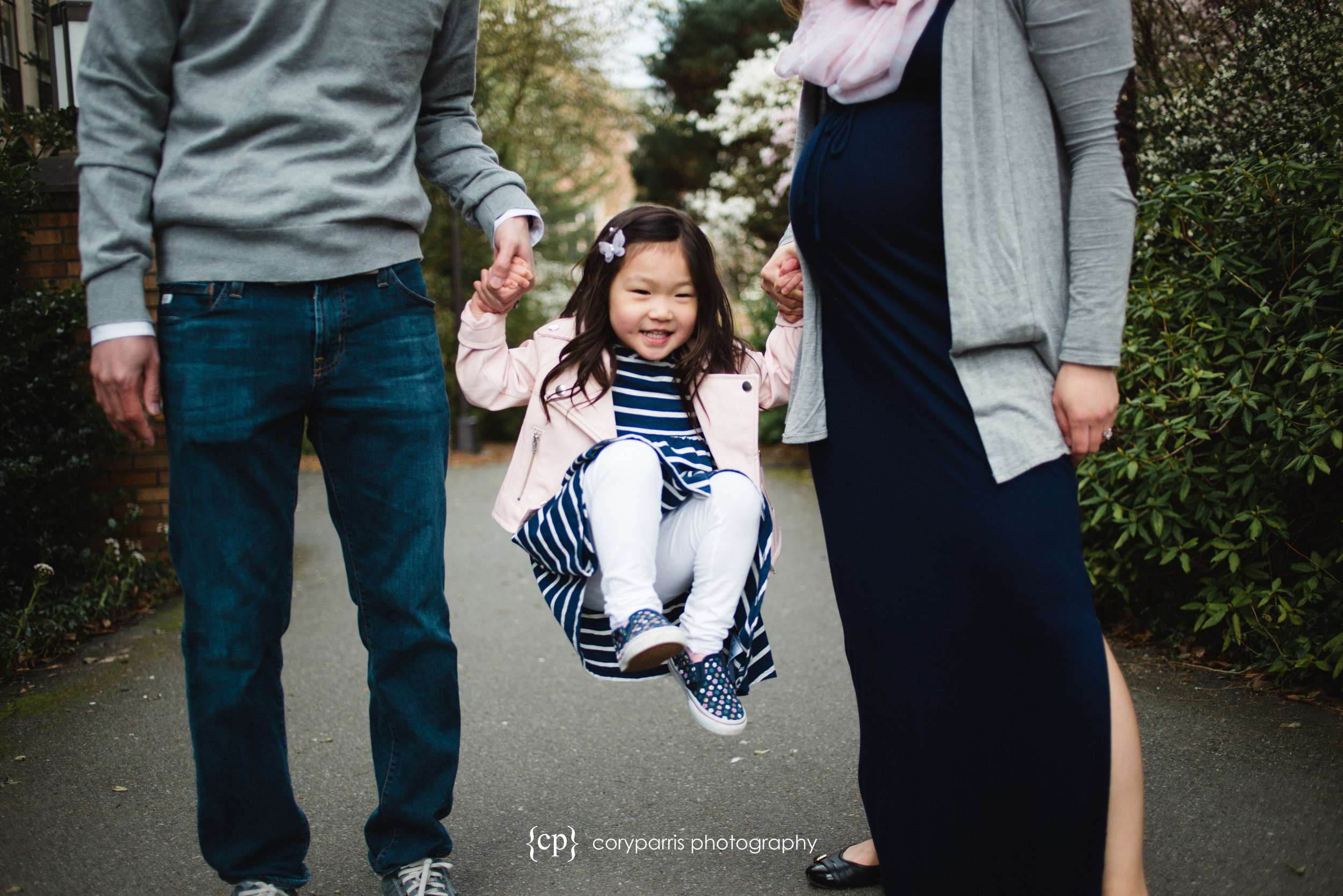 Little girl with parents