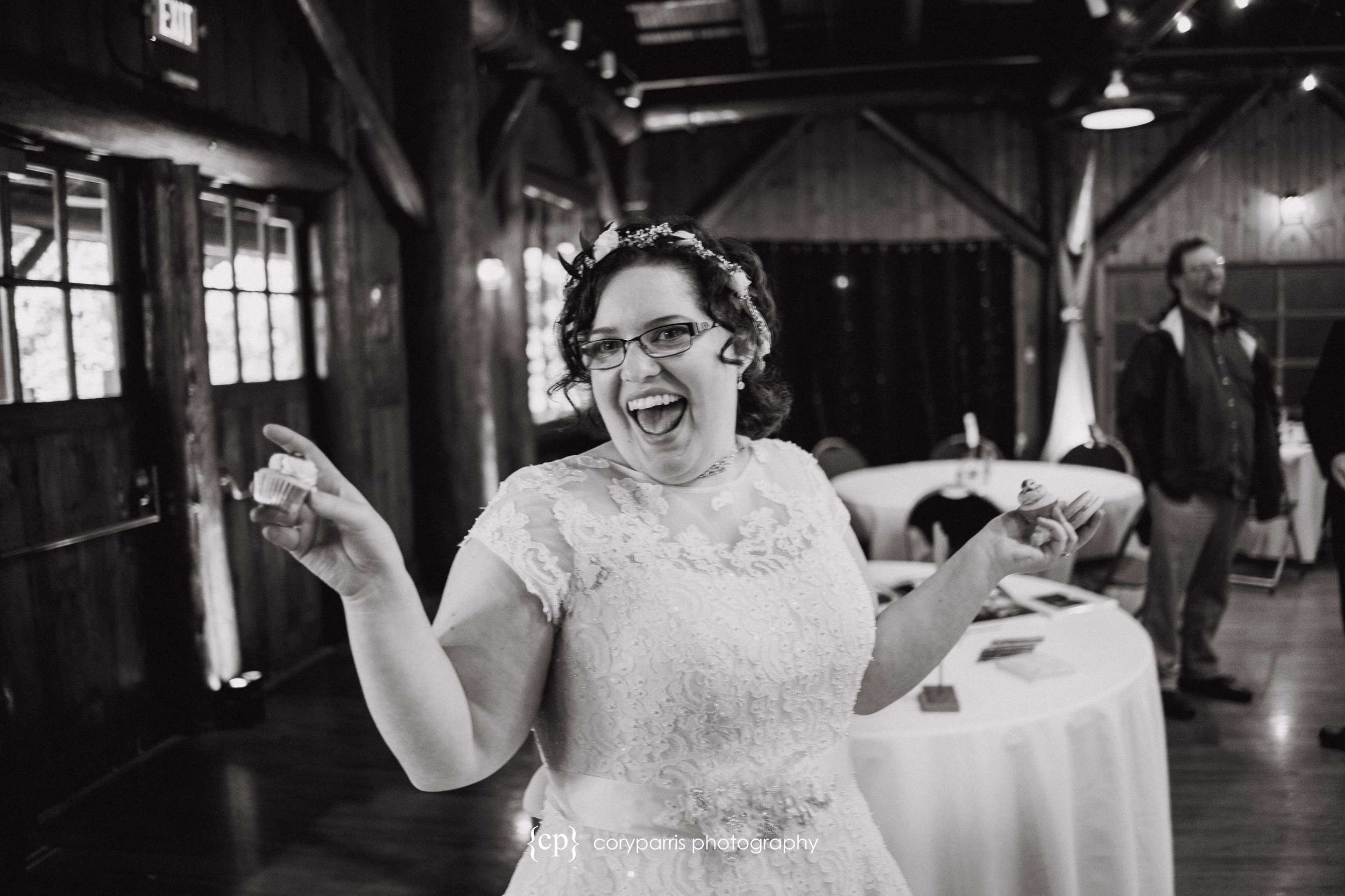 Laughing bride in everett wedding.