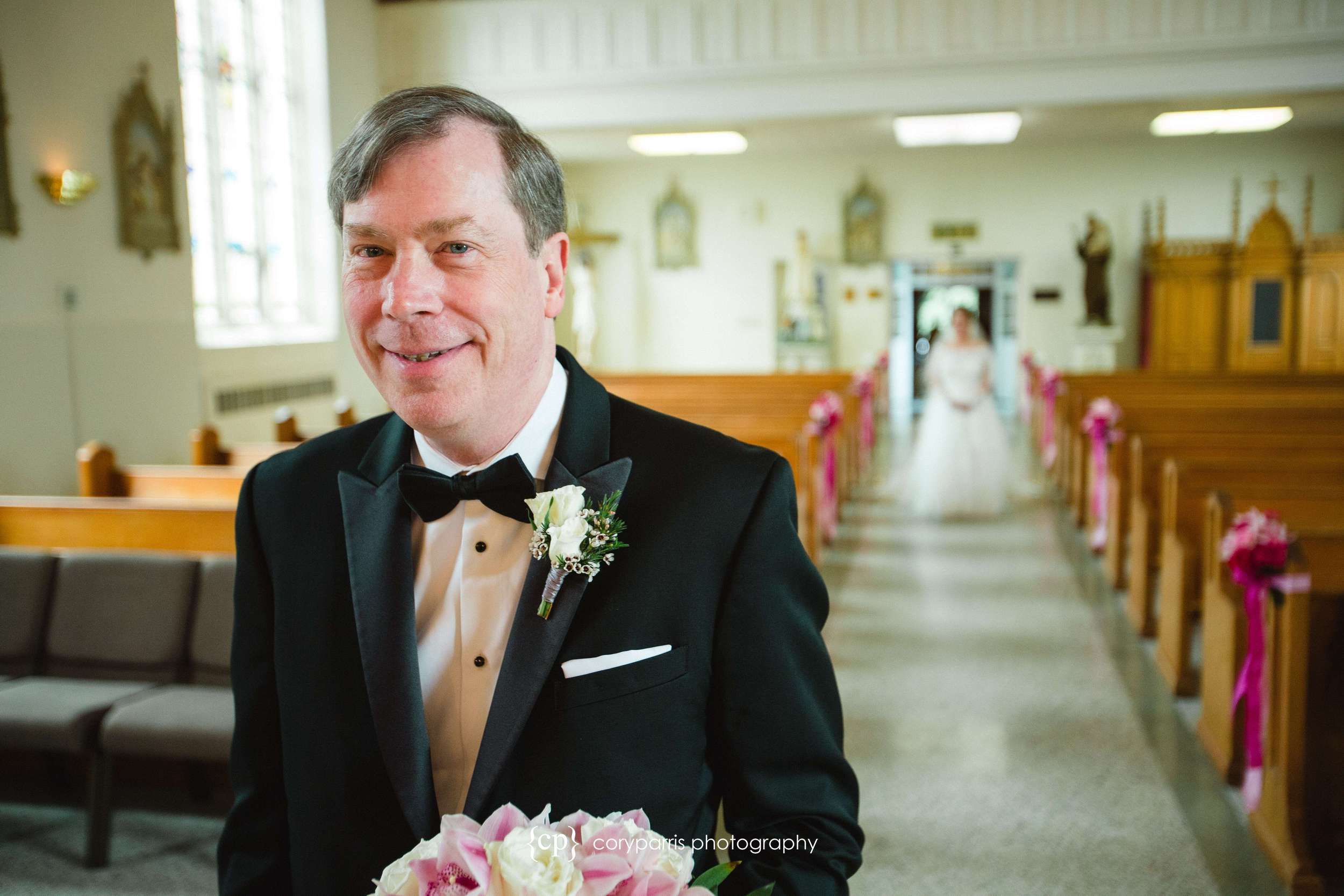 Groom waiting for bride in St. Anne Chapel