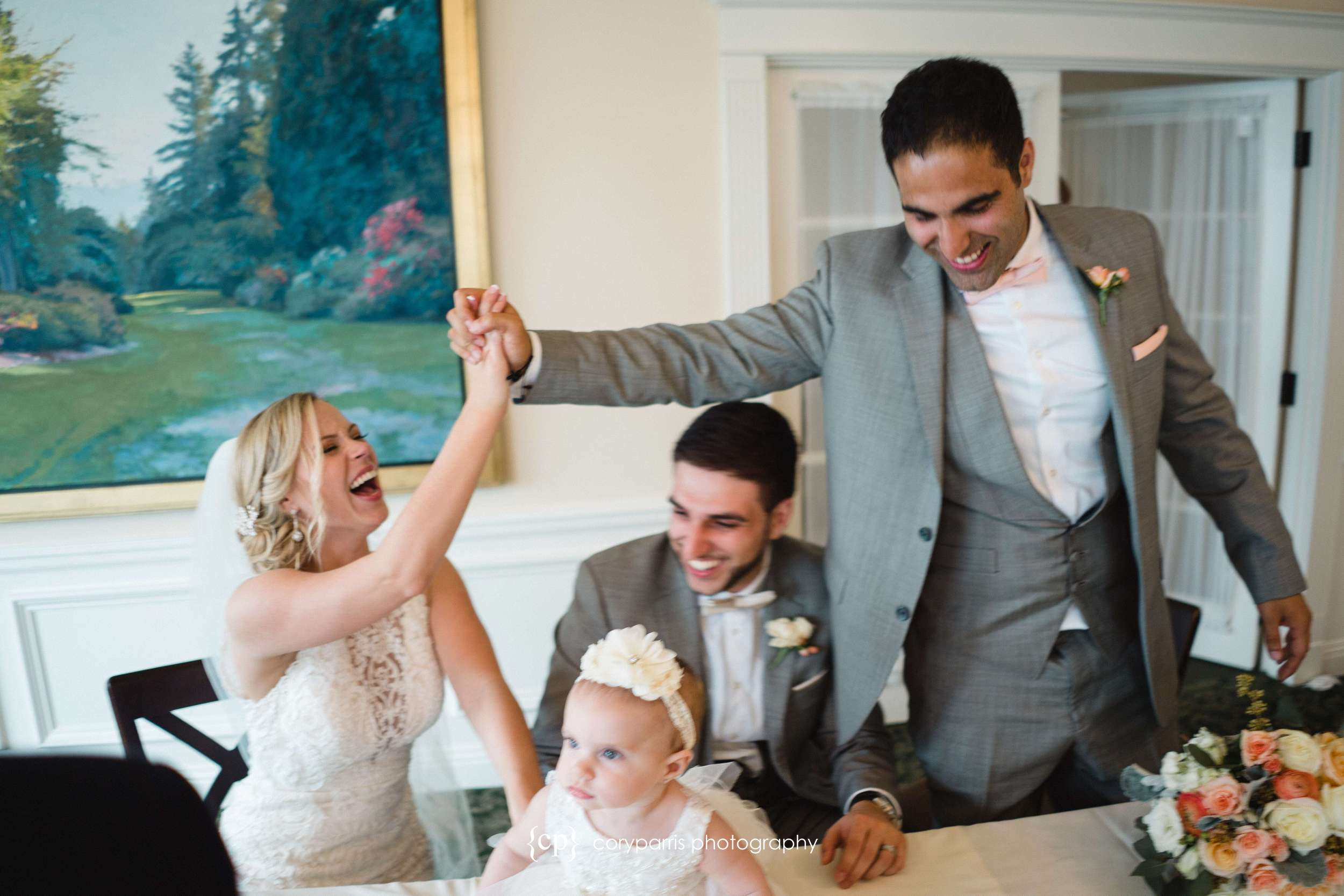 High five for the new brother-in-law