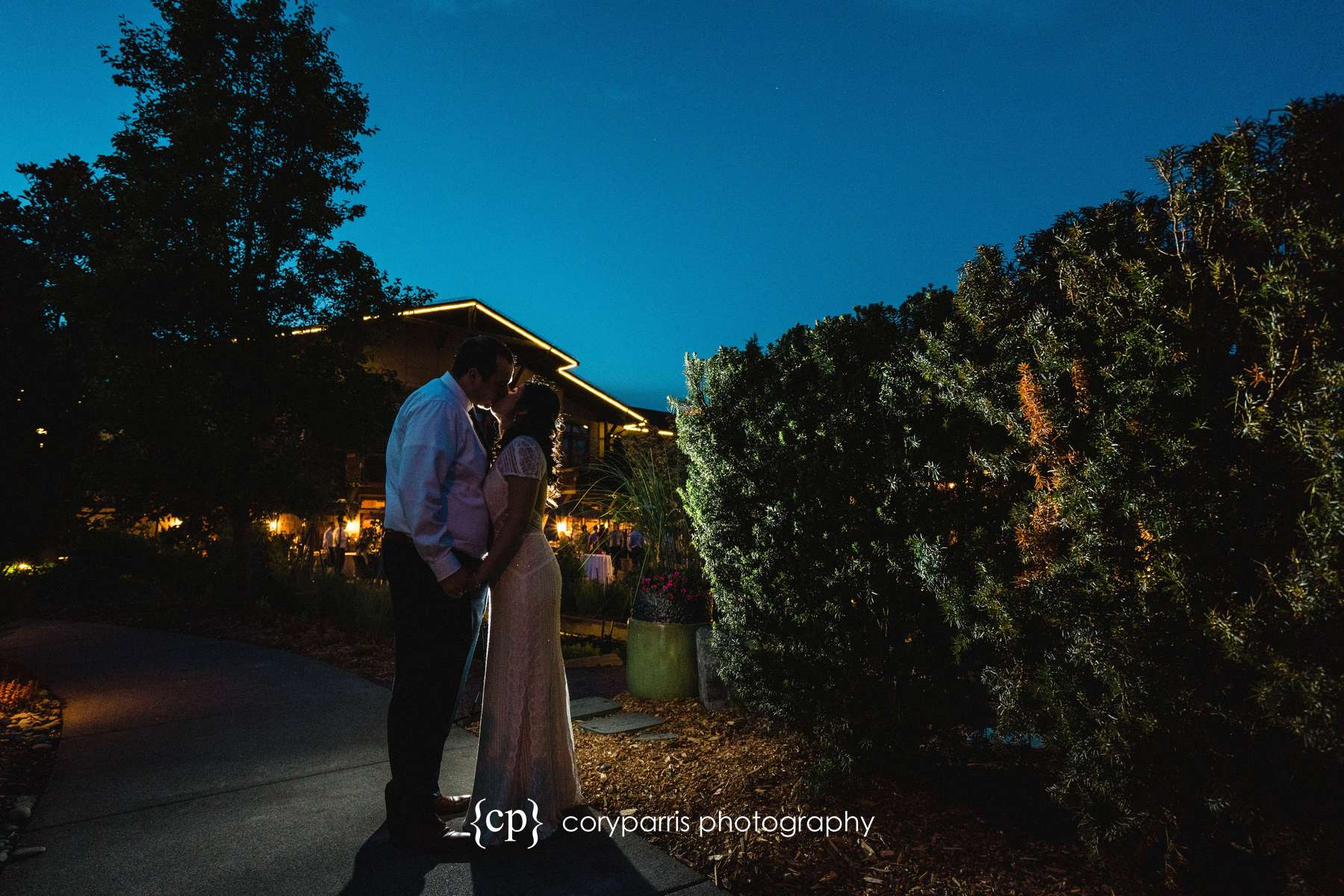 Late night portrait of Wendy and Chris by the gardens at Willows Lodge in Woodinville. I added a flash for a little rim light of the couple. Very fun!