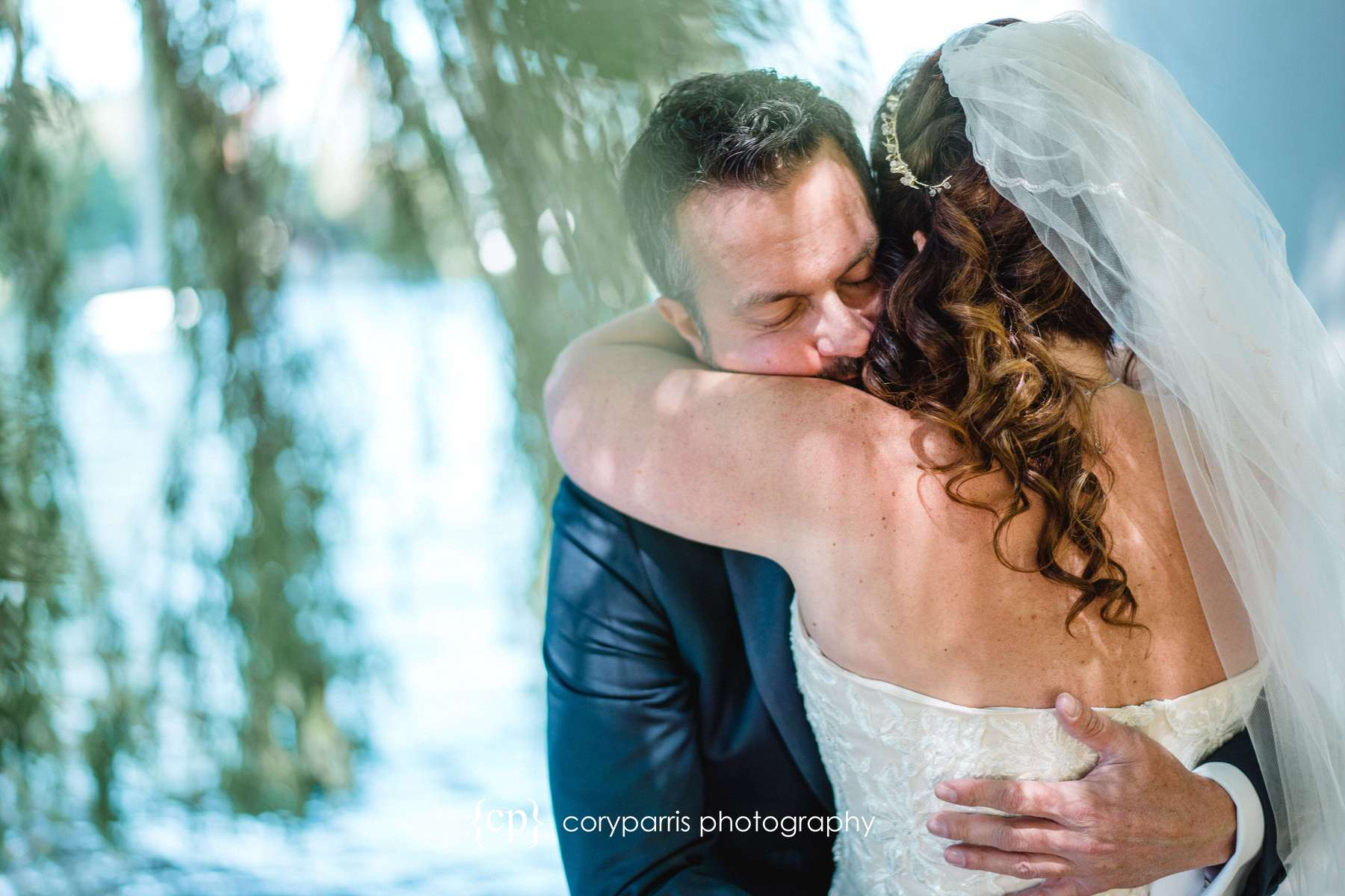 Robyn and David see each other for the first time before their wedding at the Landing at Tyee in Seattle.