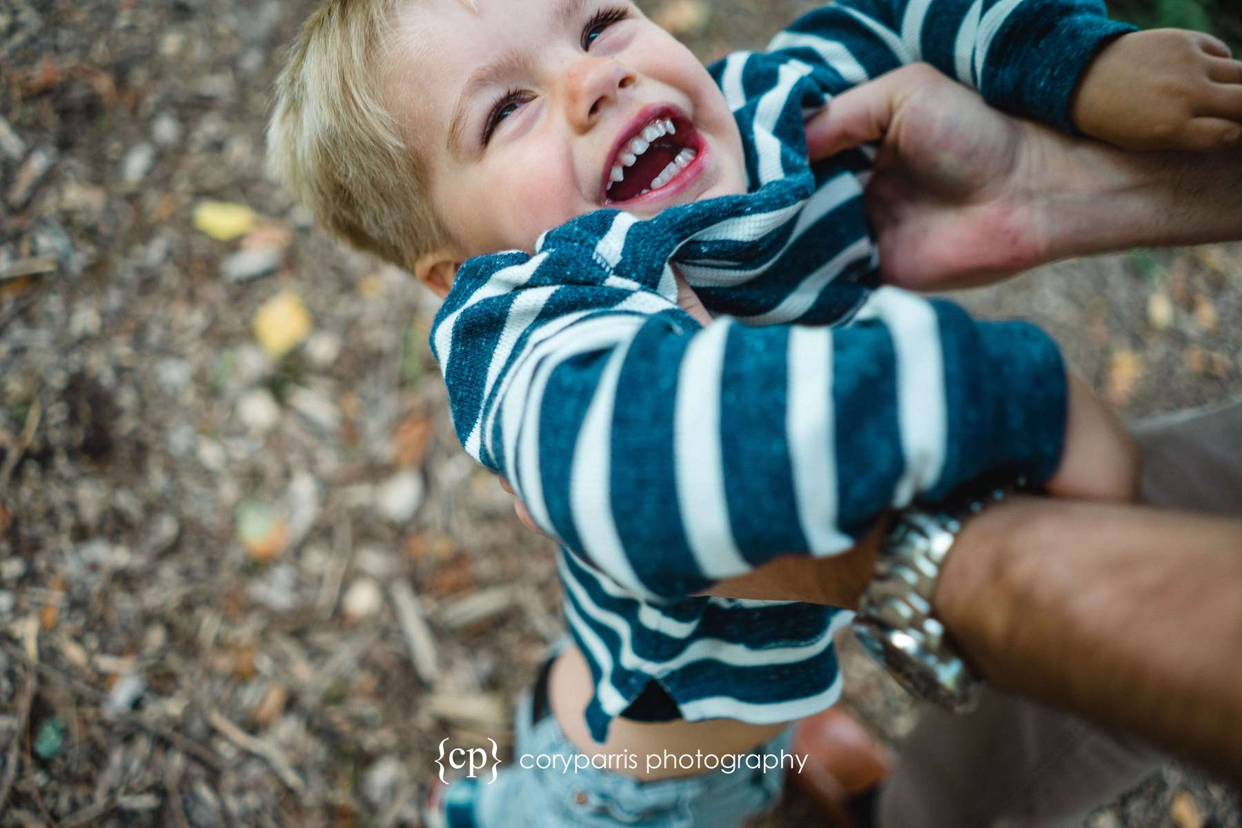 Laughing little boy - kid and family portraits at Washington Park Arboretum in Seattle