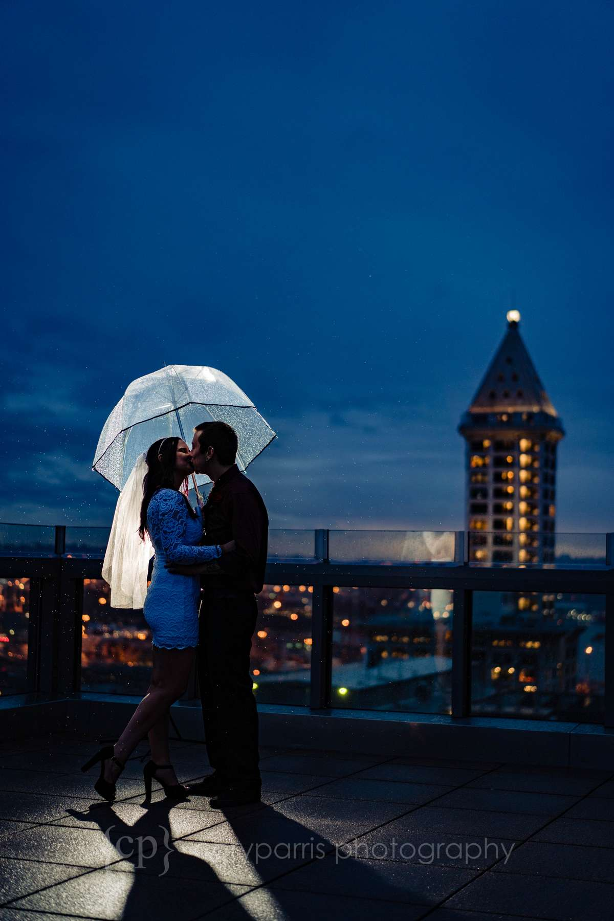 Brooke & Dylan on the on the rooftop deck at the Seattle Municipal Court in the rain!