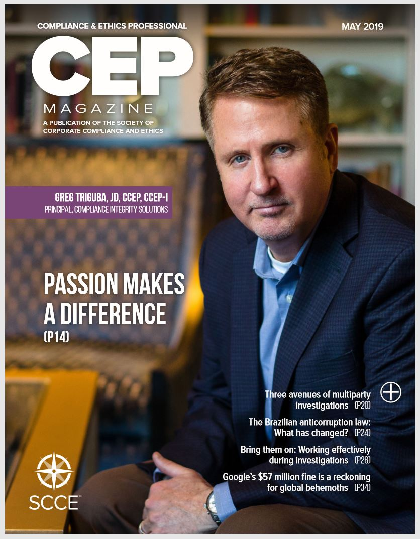 Greg for CEP Magazine.