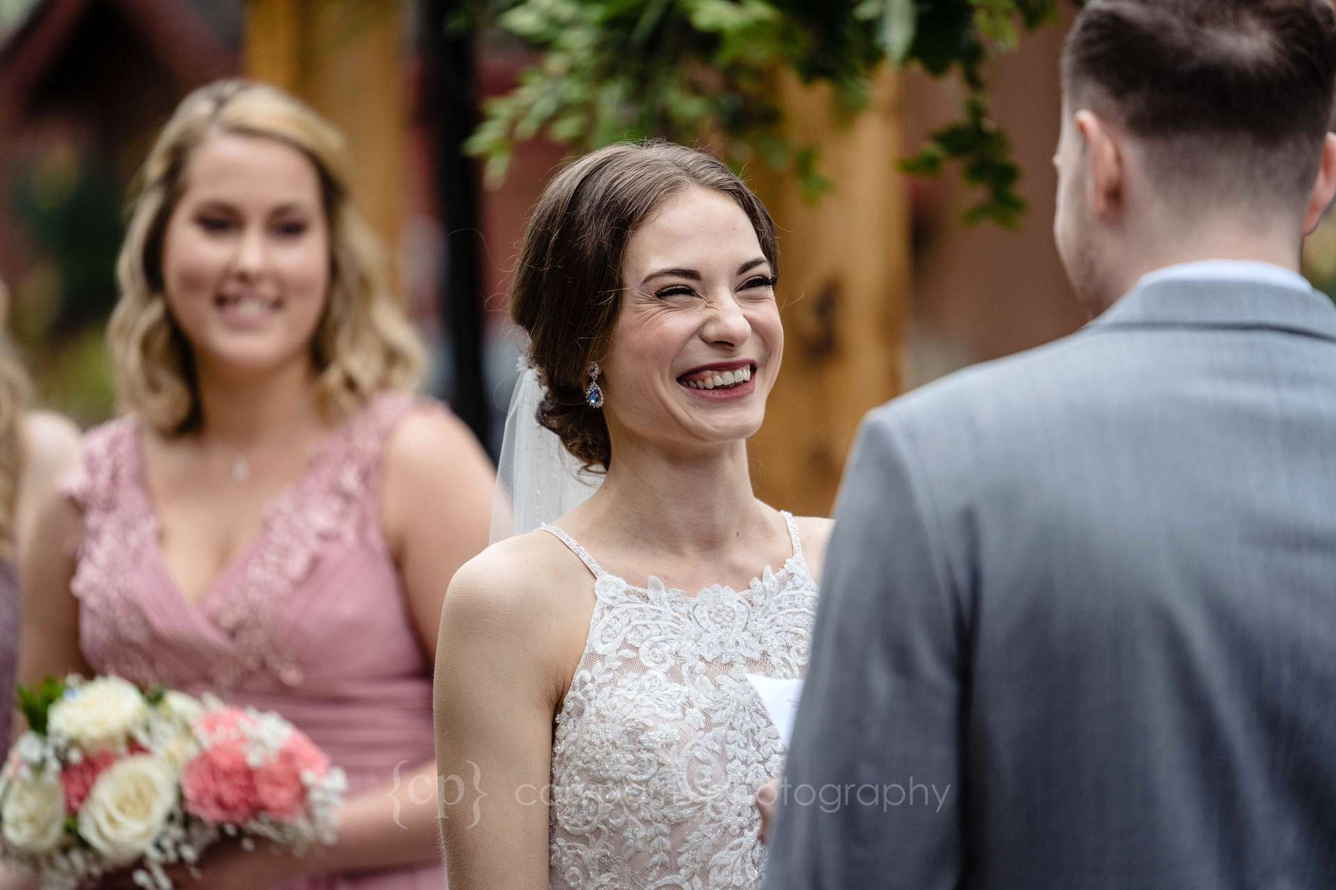 Ronya looking at Nick during their vows. They had their wedding in the garden at Willows Lodge in Woodinville.