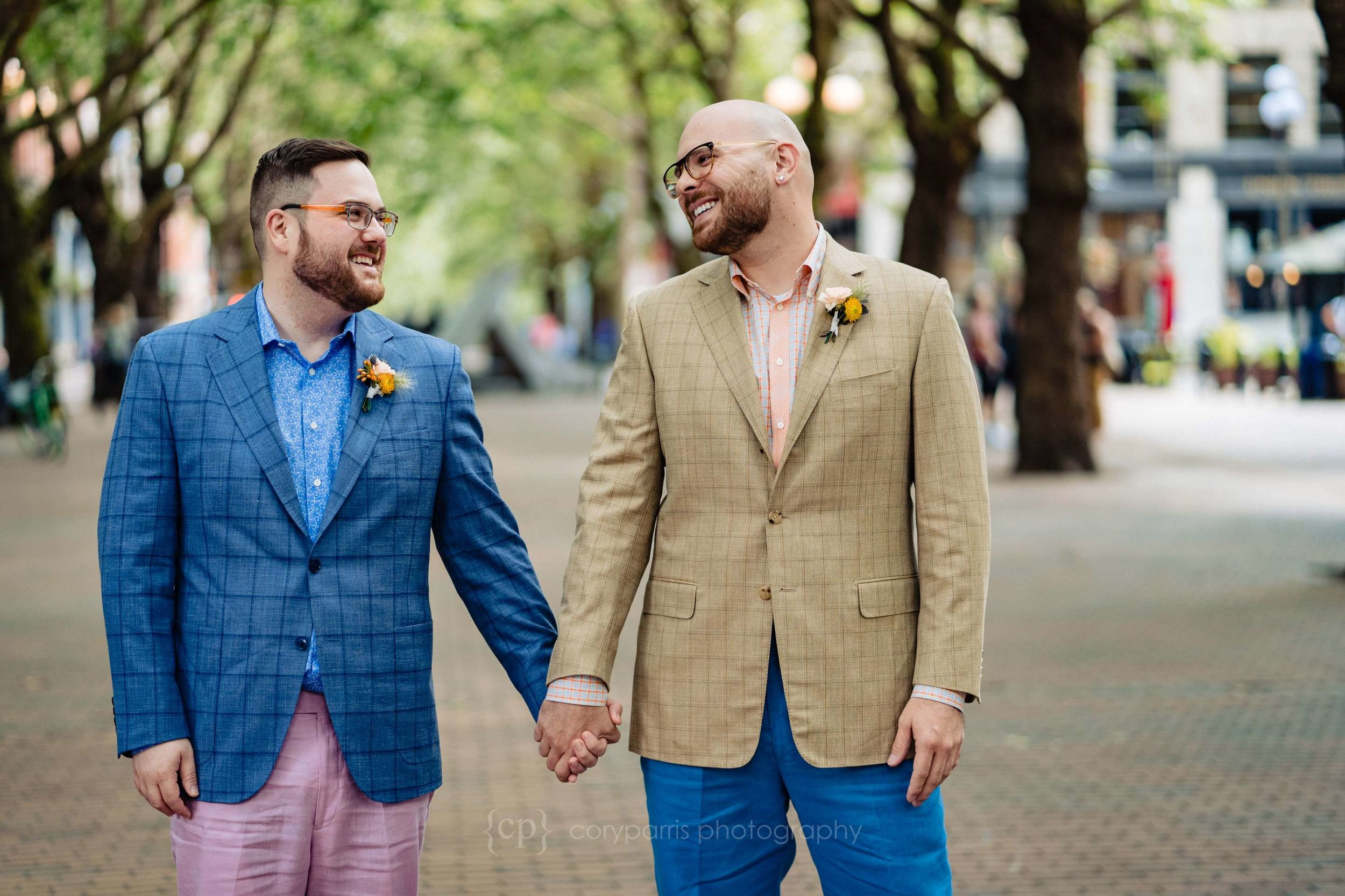 Zack and Jonathan at Occidental Park before their Seattle Courthouse wedding!