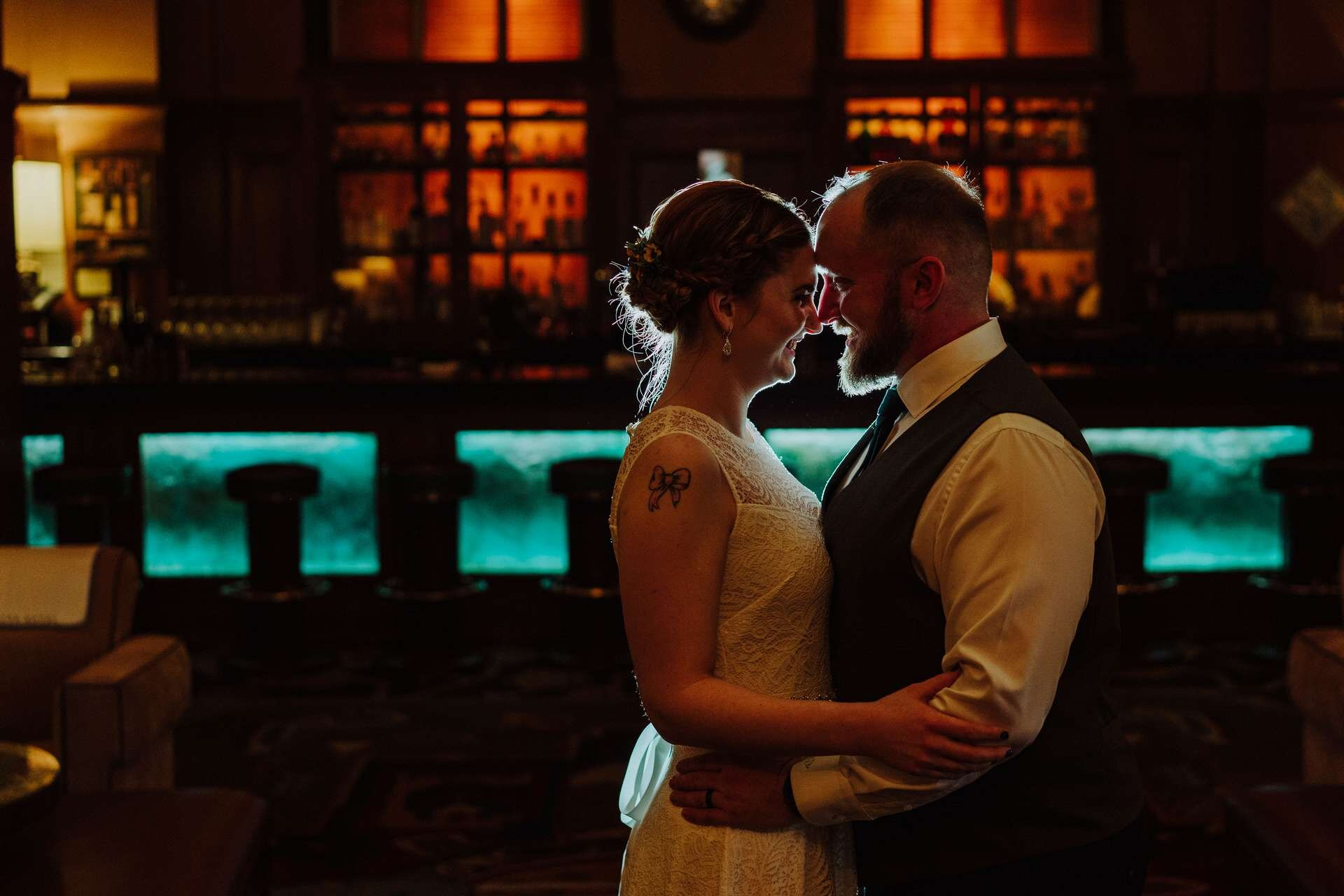 Amy and Chris at the Arctic Club before their elopement at the Seattle Municipal Court.