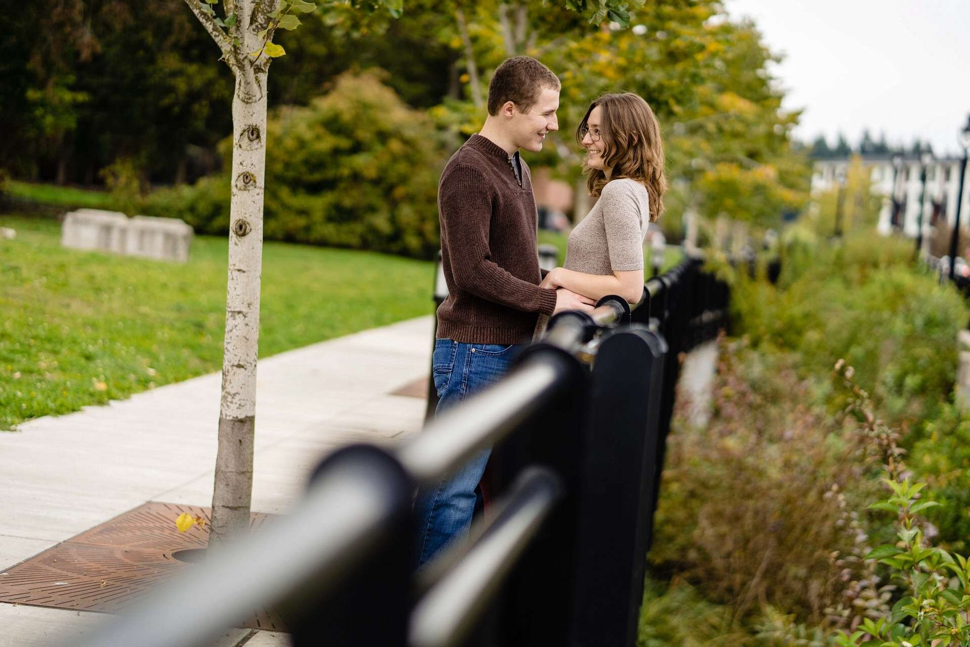 Engagement portraits for Haley & Christopher in downtown Bothell