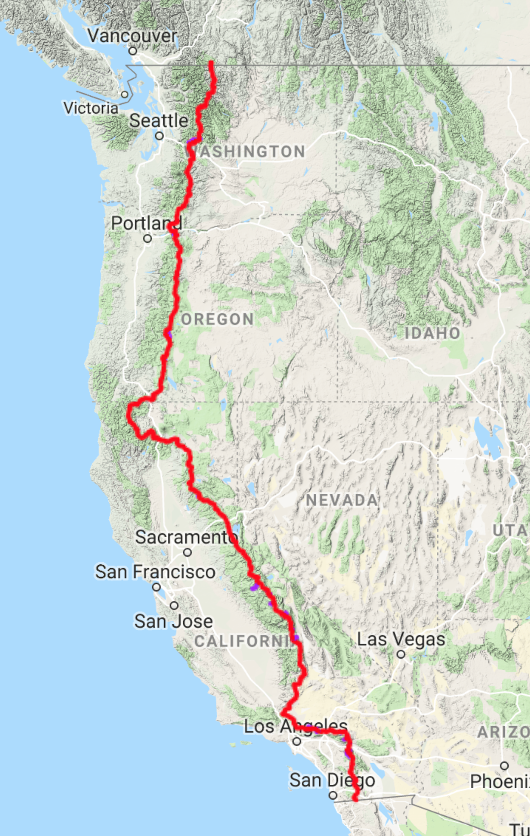 Pacific Crest Trail - • Start Point: Mexican Border• End Point: Canadian Border• Miles: 2,650• Miles of Desert: 700• States: 3• National Parks: 6• Highest Point: 13,153'• Total Ascent: 489,418'• Sasquatch Population: Unknown