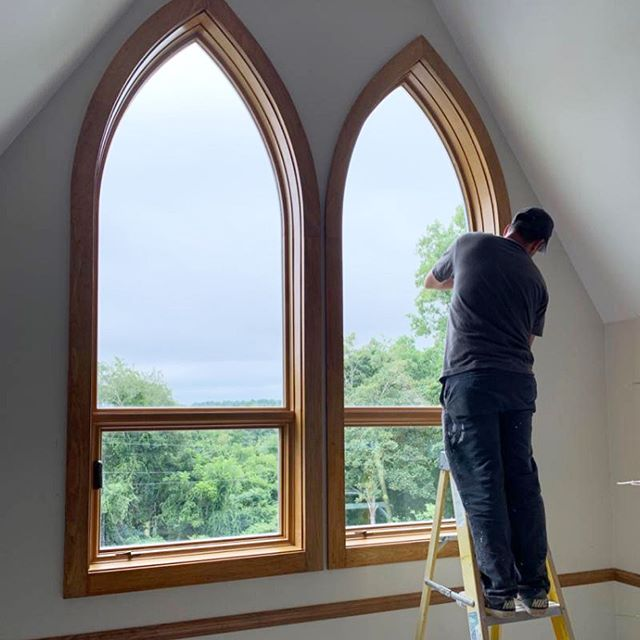Thank you to Kevin from @pellawindows for sharing these pictures of our crew installing these new custom windows for a local church.  #barnescustom #capecod #pellawindows #pella #windows #custom #design #customwindows