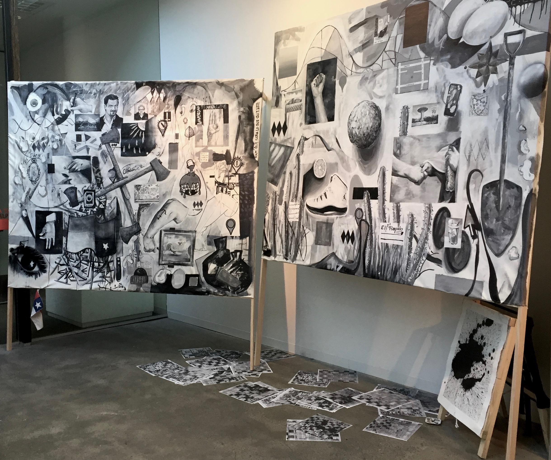 Nuñoa / Terremoto, 2017  acrylic on canvas  170 x 200 cm  Photo credit: Simon Cuthbert