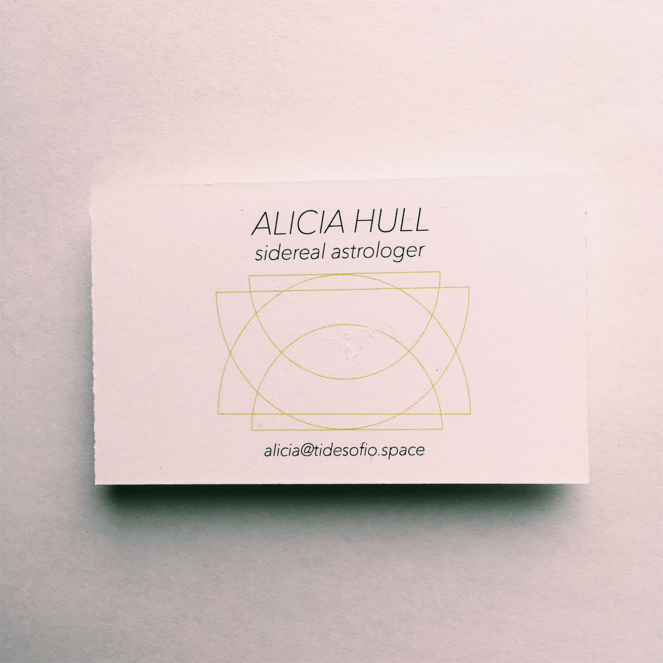 Business card design for Alicia Hull (Front.