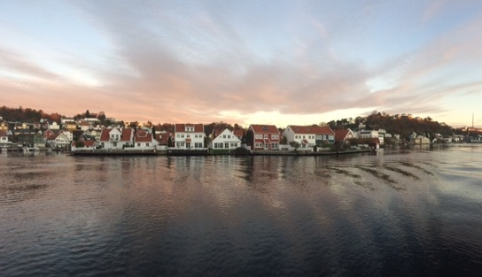 Commuting on the ferry in Arendal.