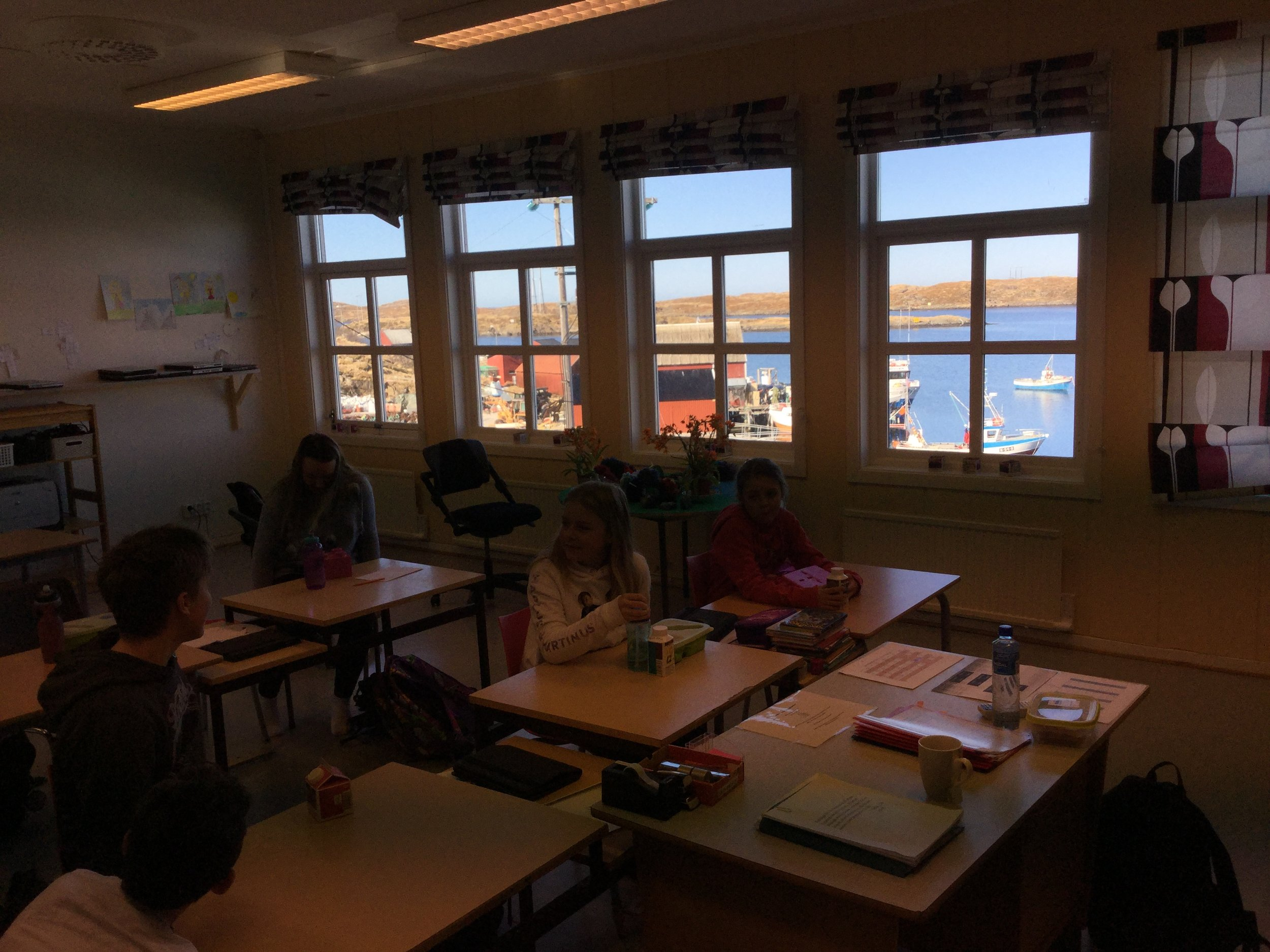 This 5-10 grade classroom overlooks the harbor, and is just across a path from the ferry dock. Each pupil has an iPad, the classroom has high-speed internet, AppleTV and a SmartBoard! We spent the morning here learning about a typical day in the life of a teenager in Vermont, and reading letters from American teens. We also learned about how the Norwegian government and NASA have been working together on space exploration lately, as they have been studying astronomy in science class.