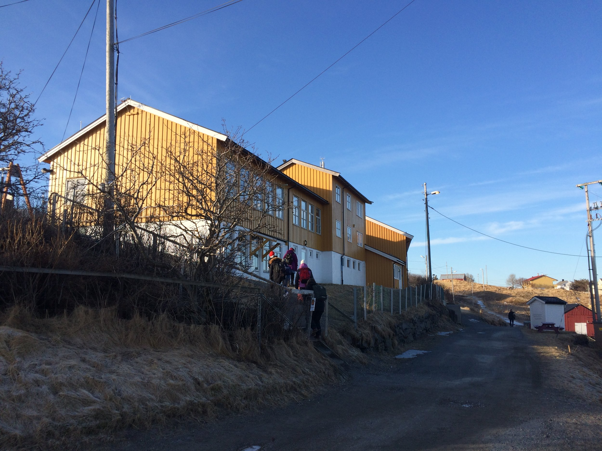The school on Helligvær provides an education for anywhere from 10-20 pupils, ranging in age from kindergarten to 10th grade, depending on the year. Currently, the entire island has a population of 90. There are four teachers and one principal at this school. The island has a grocery store that is open from 3:30-5:00, five days a week. Two mothers share the job of running the shop, and almost all of the fathers work on boats in some capacity. There is also a post office and a gas station, however the fuel is mostly sold to run farm equipment, as there are only four cars on the entire island!