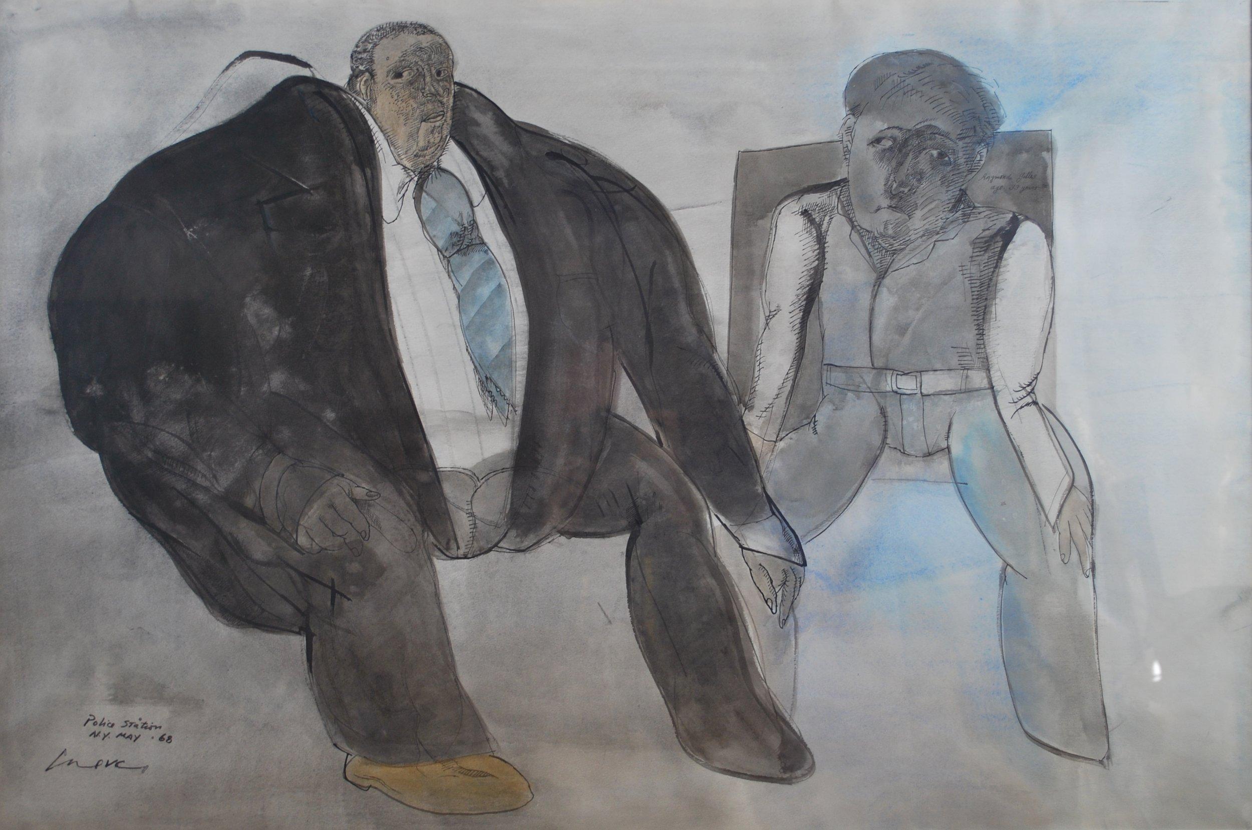 Jose Luis Cuevas  Title  Auto-retrato com José Gomez Sicre - Police Station - New York  Medium  Mix Medium on Paper  Date1968 Size 68 x 99 Courtesy of Bond Latin Gallery.JPG