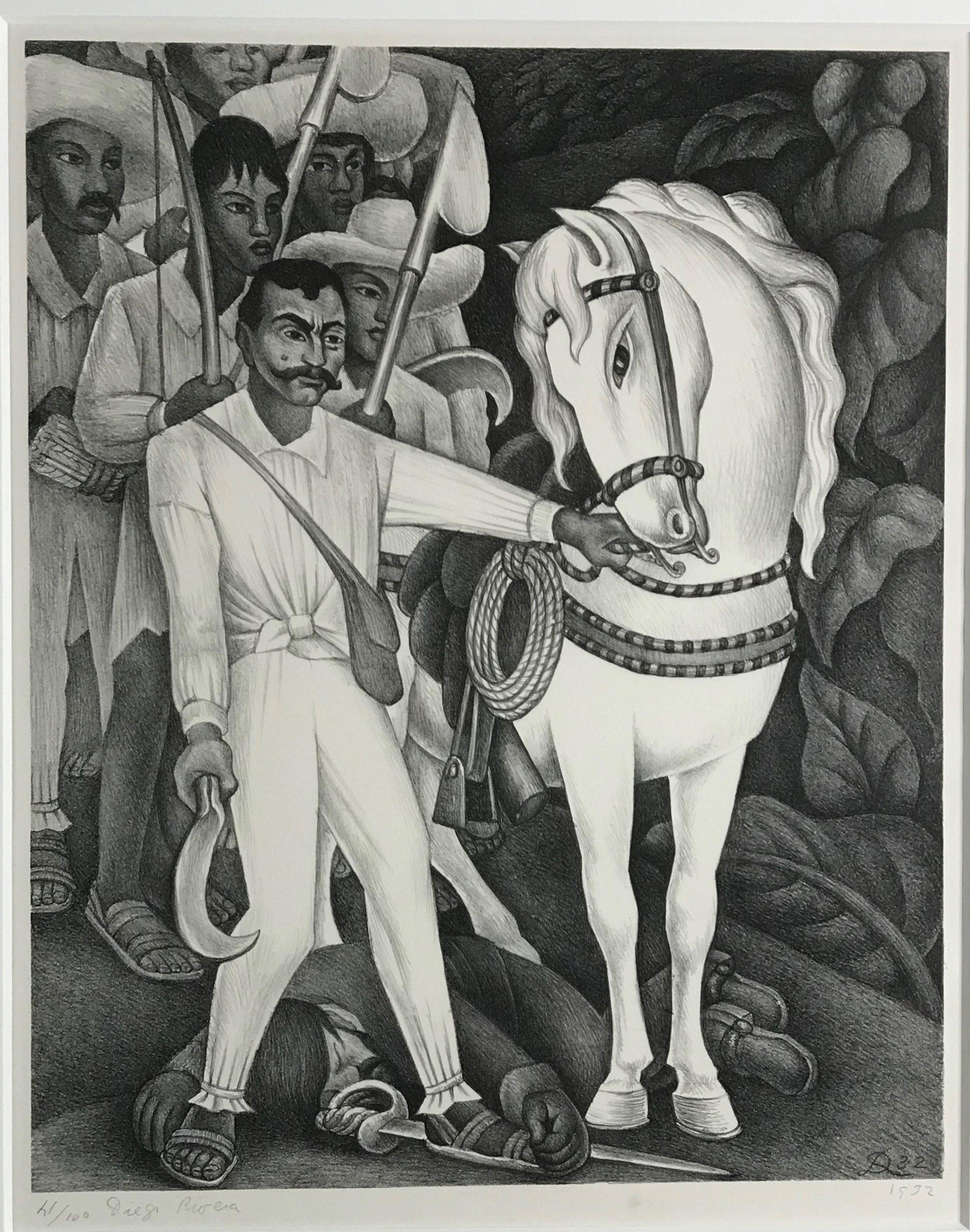 Diego Rivera.  Lithograph.  Zapata.  1932.  13.18 x 16.25 inches  .jpg