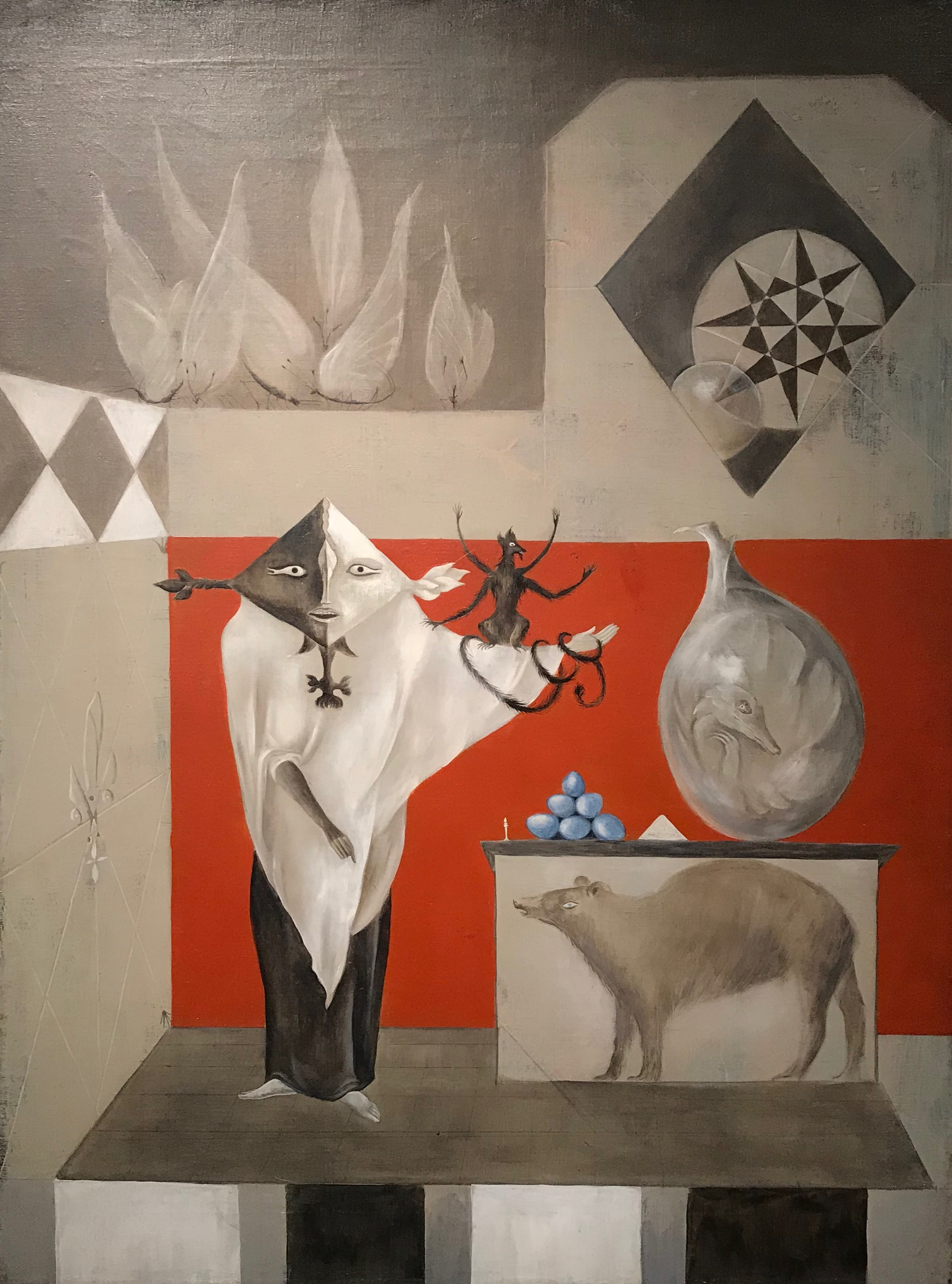 El Nigromante  (The Conjurer) by Leonora Carrington, oil on canvas painting executed in 1957.