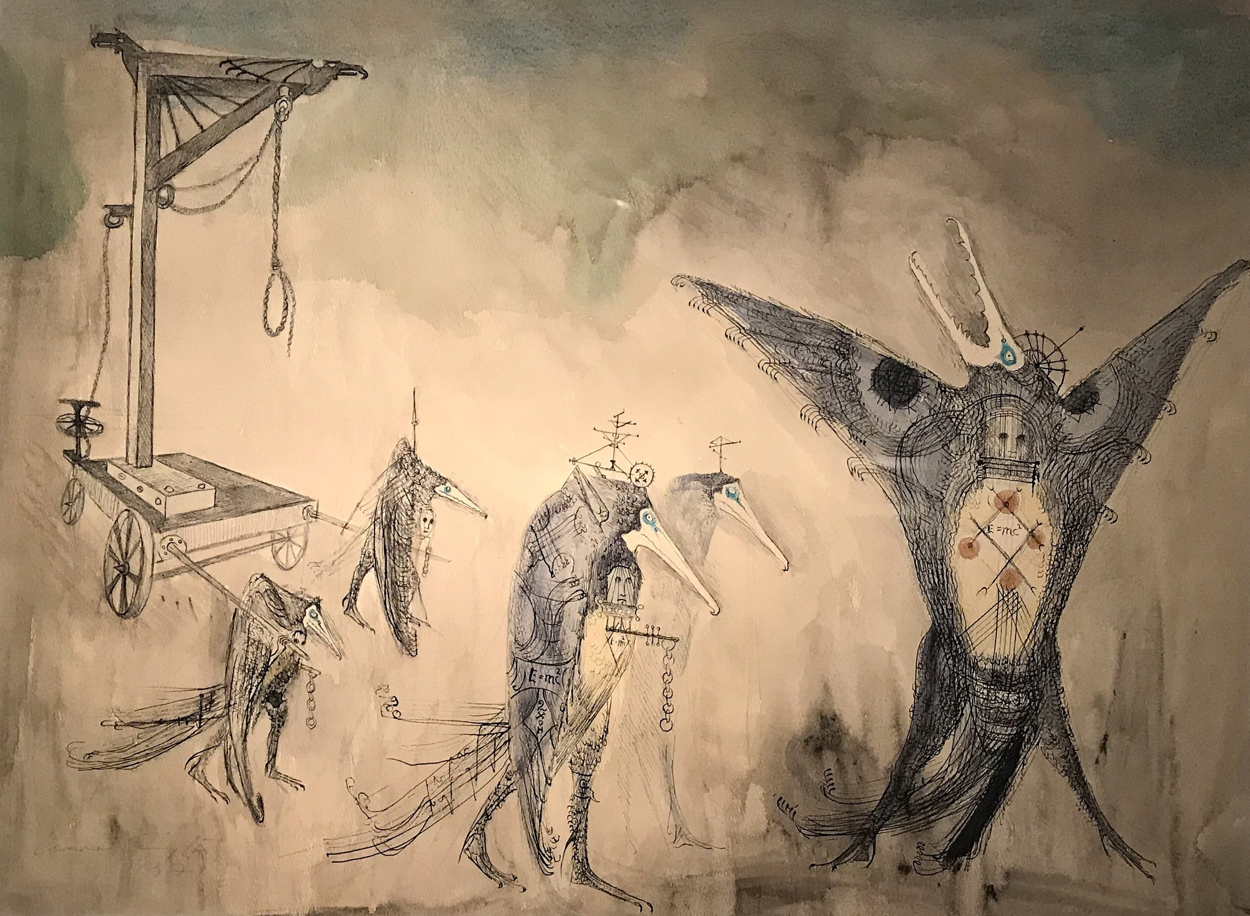 Aves de Horca (The Gibbet Birds) , 1971 watercolor on paper.