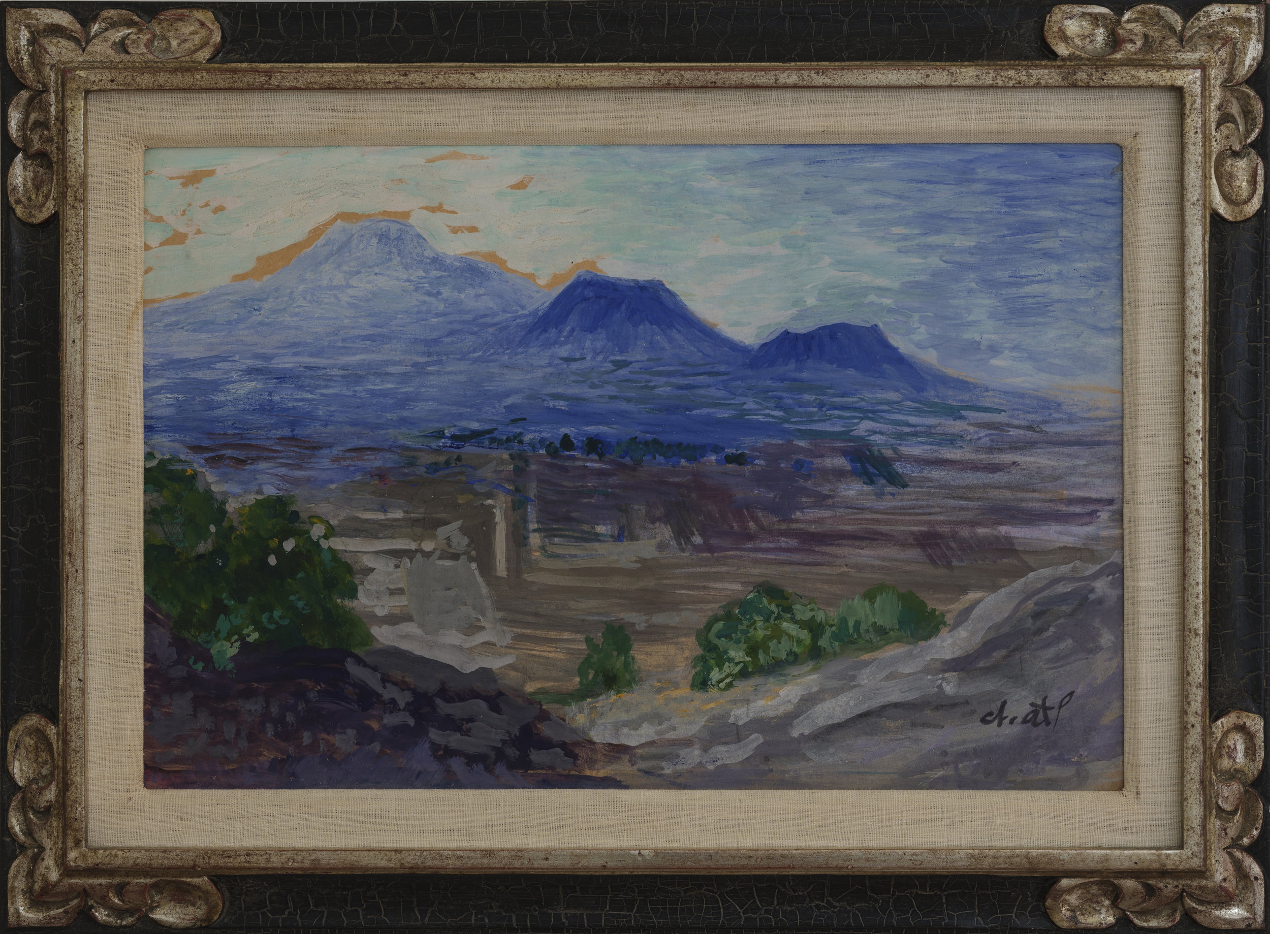 """Artist: Dr. Atl (Gerardo Murillo Cornado) Title:  Landscape with Mountains (Valley of Mexco)  Medium: Atl colors on paper mounted on board Date: circa 1928 Size: 11.5"""" x 17.5"""" (29cm x 45cm) Condition: Excellent Signed"""