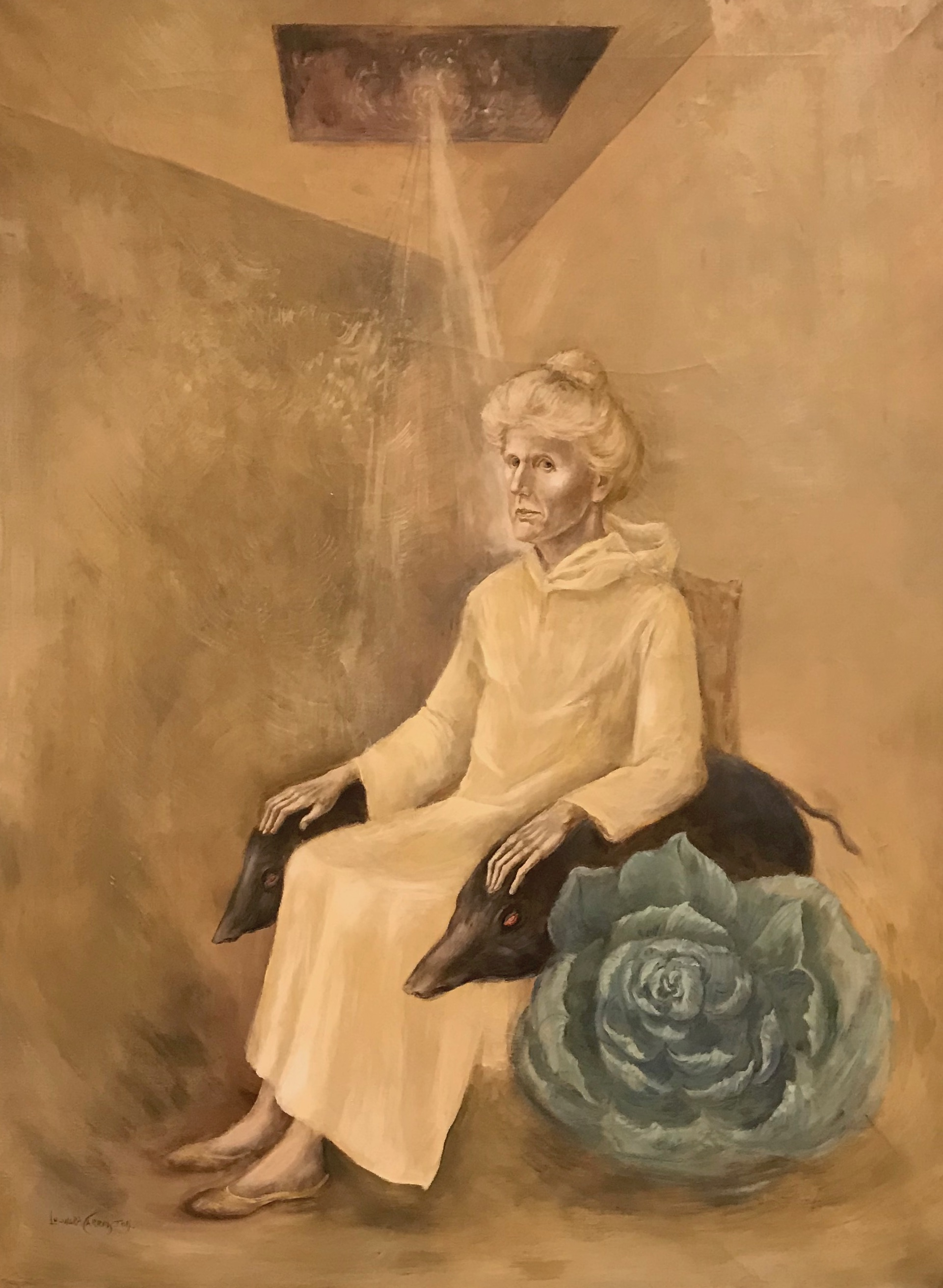 1975 oil on canvas painting  titled: 'Portrait of Anne Fremantle'.