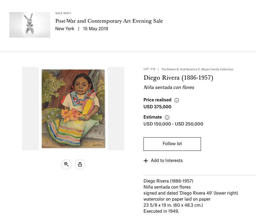 Diego Rivera watercolor fetches record price