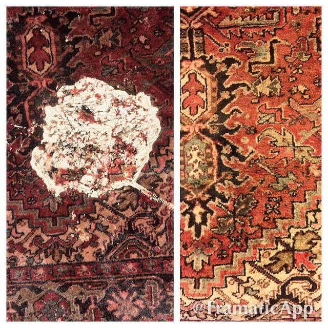 Before and After Cleaning Paint Stain from Persian Rug