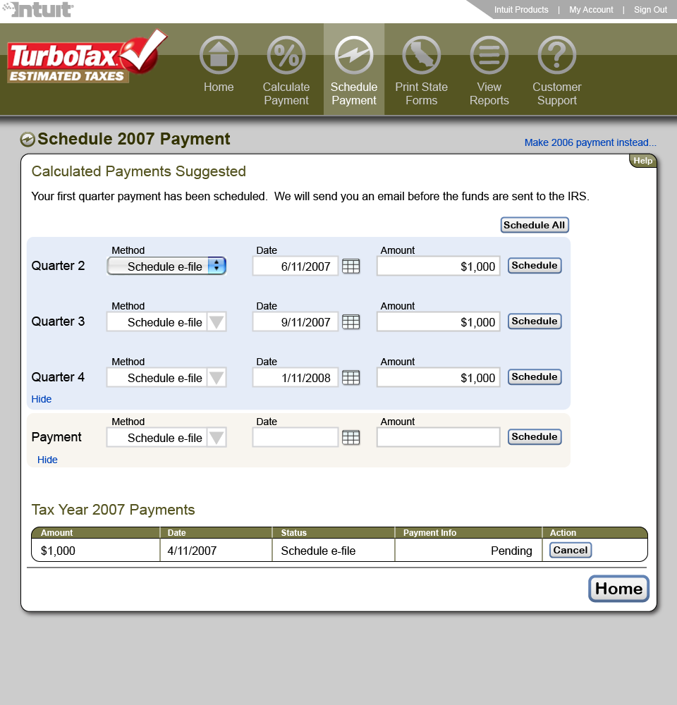 Scheduling payment