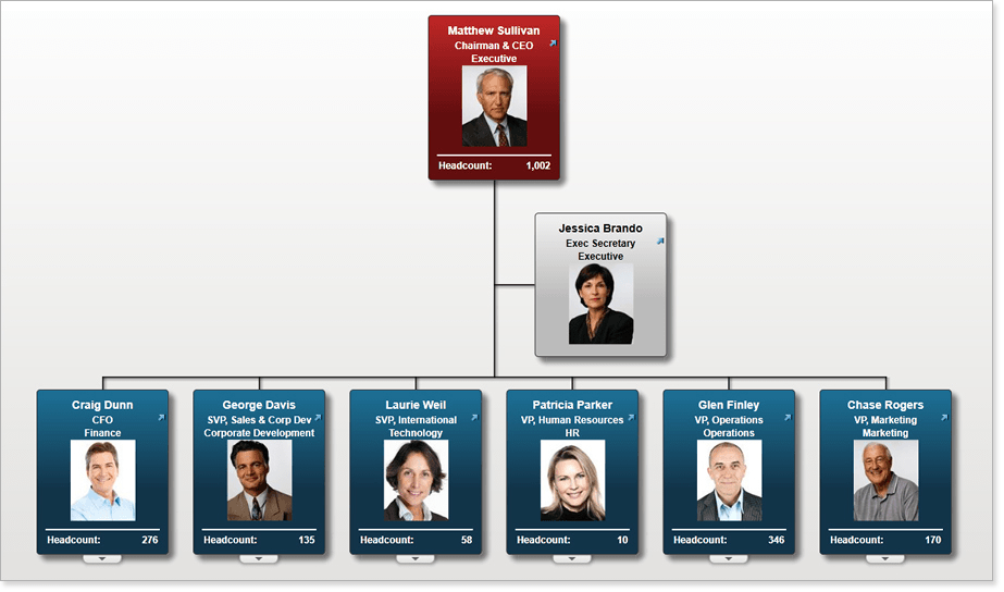 Gain a quick understanding of your organization, put a face to a name and share as an on boarding tool.